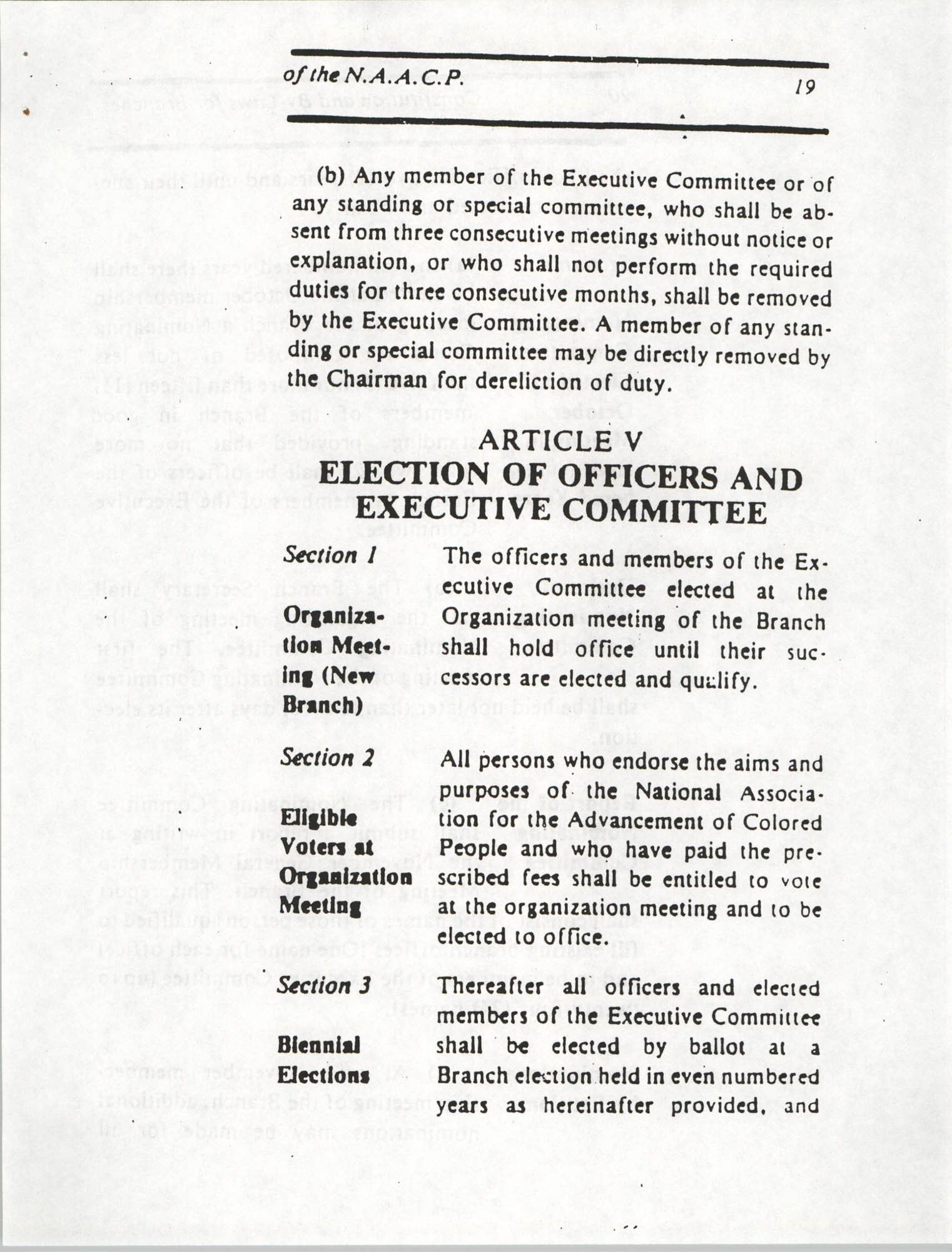 Constitution and By-Laws for Branches of the NAACP, March 1992, Page 19