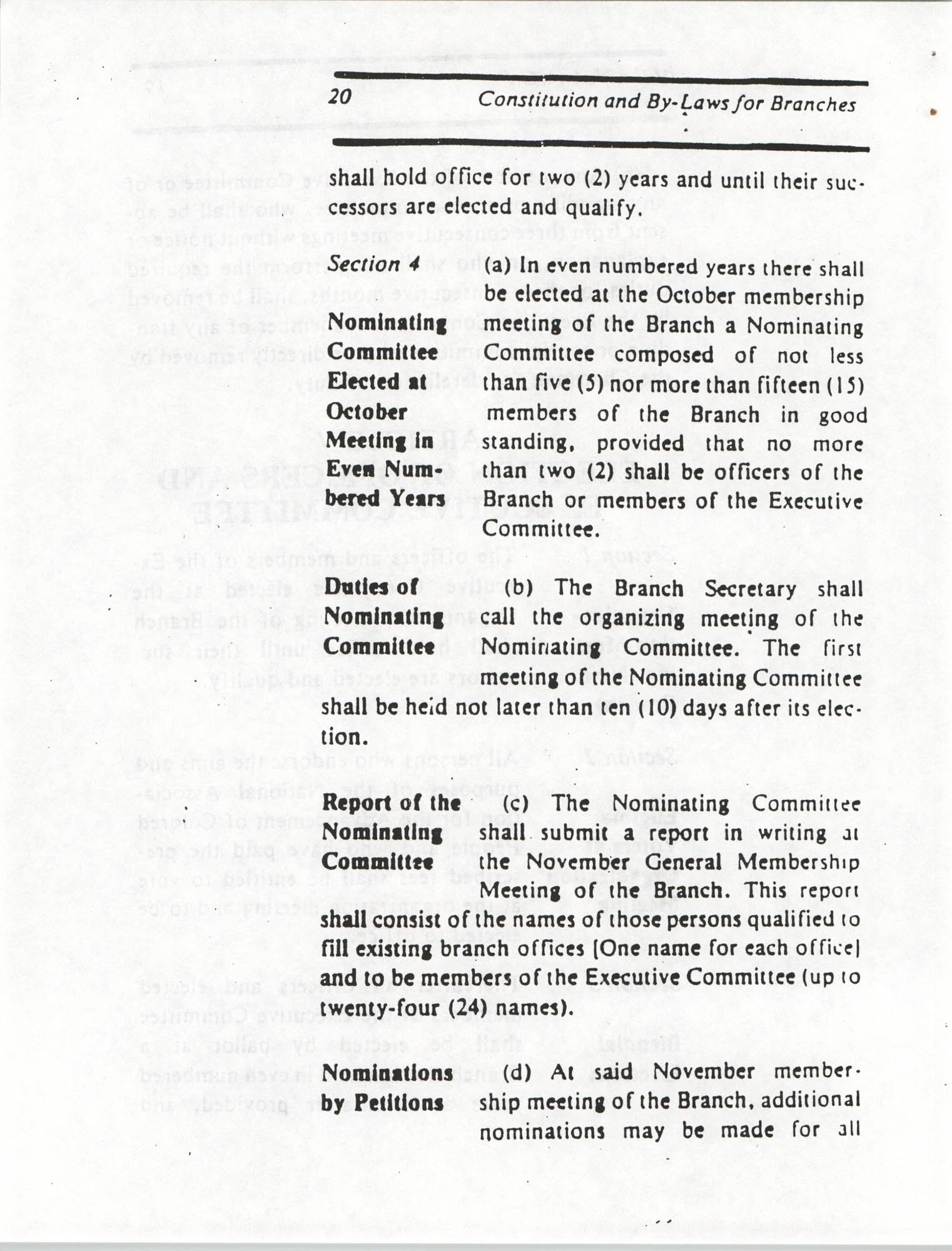 Constitution and By-Laws for Branches of the NAACP, March 1992, Page 20