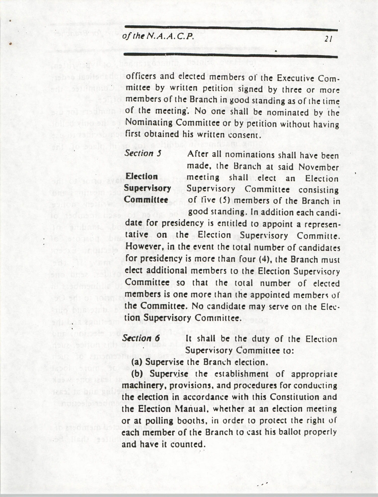 Constitution and By-Laws for Branches of the NAACP, March 1992, Page 21