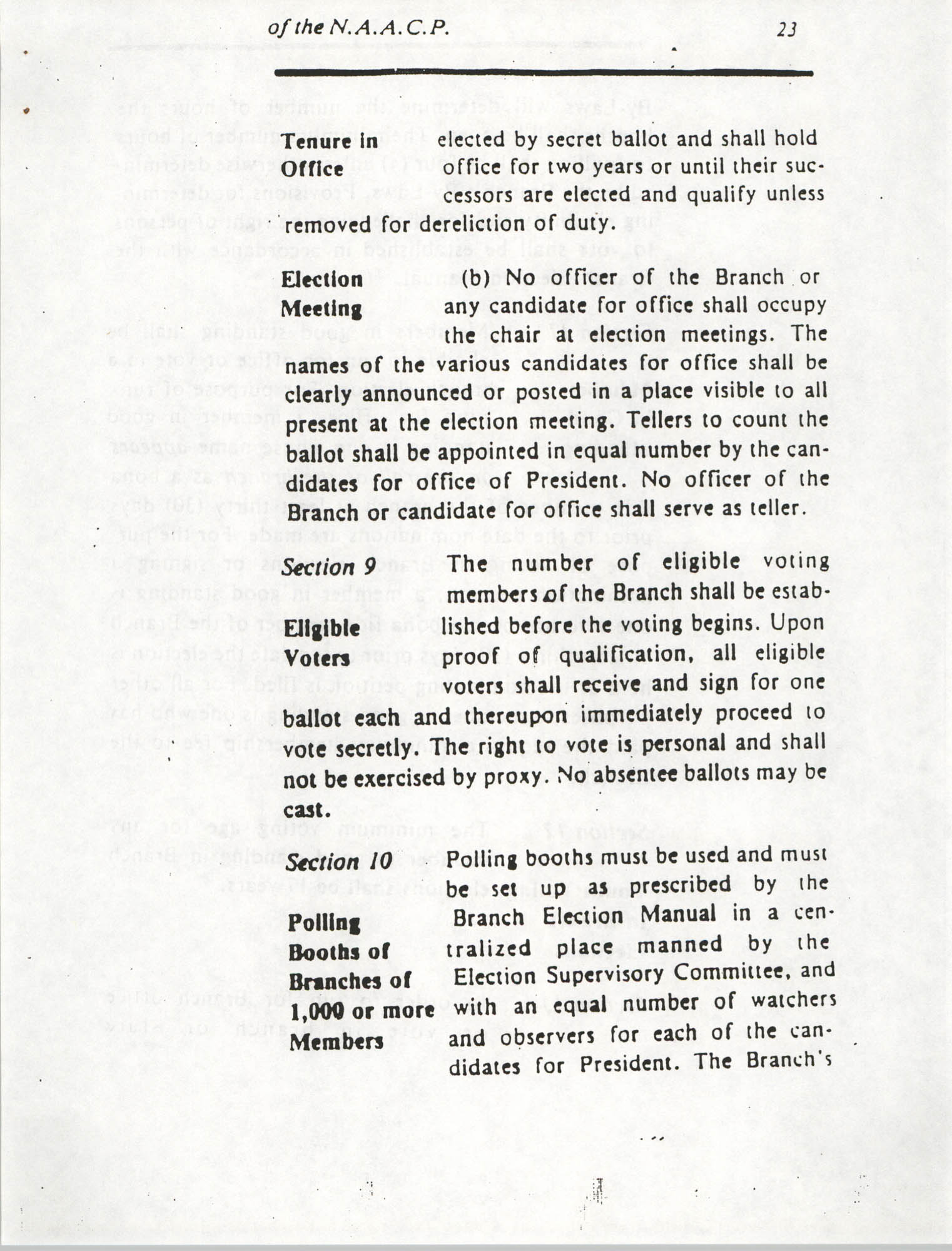 Constitution and By-Laws for Branches of the NAACP, March 1992, Page 23