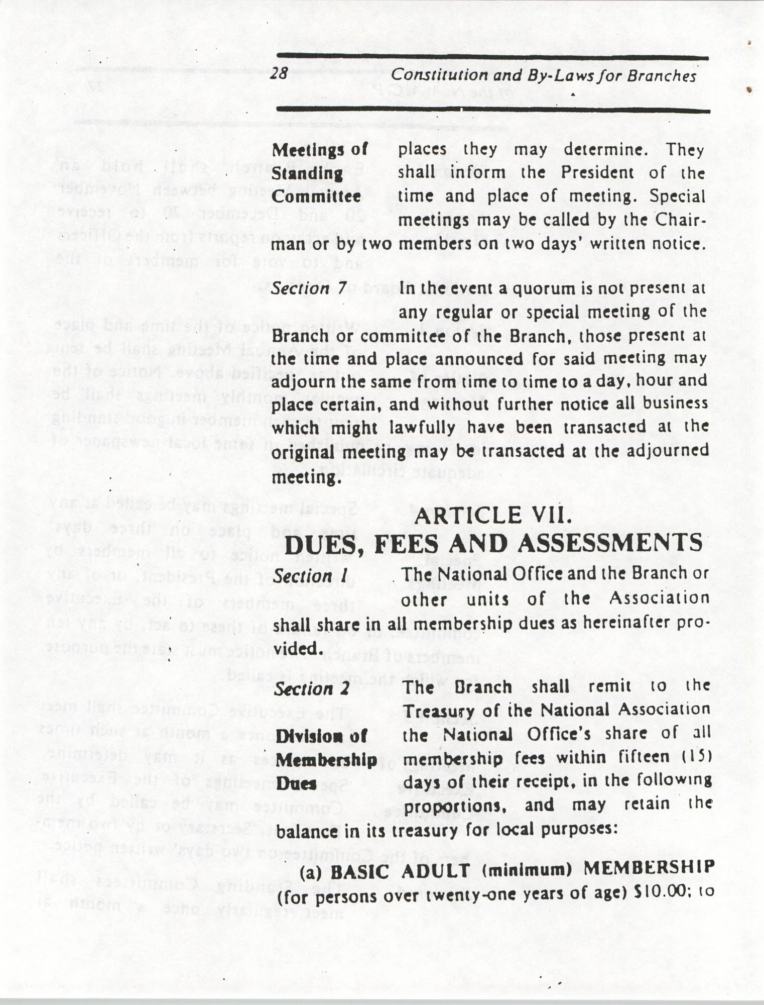 Constitution and By-Laws for Branches of the NAACP, March 1992, Page 28