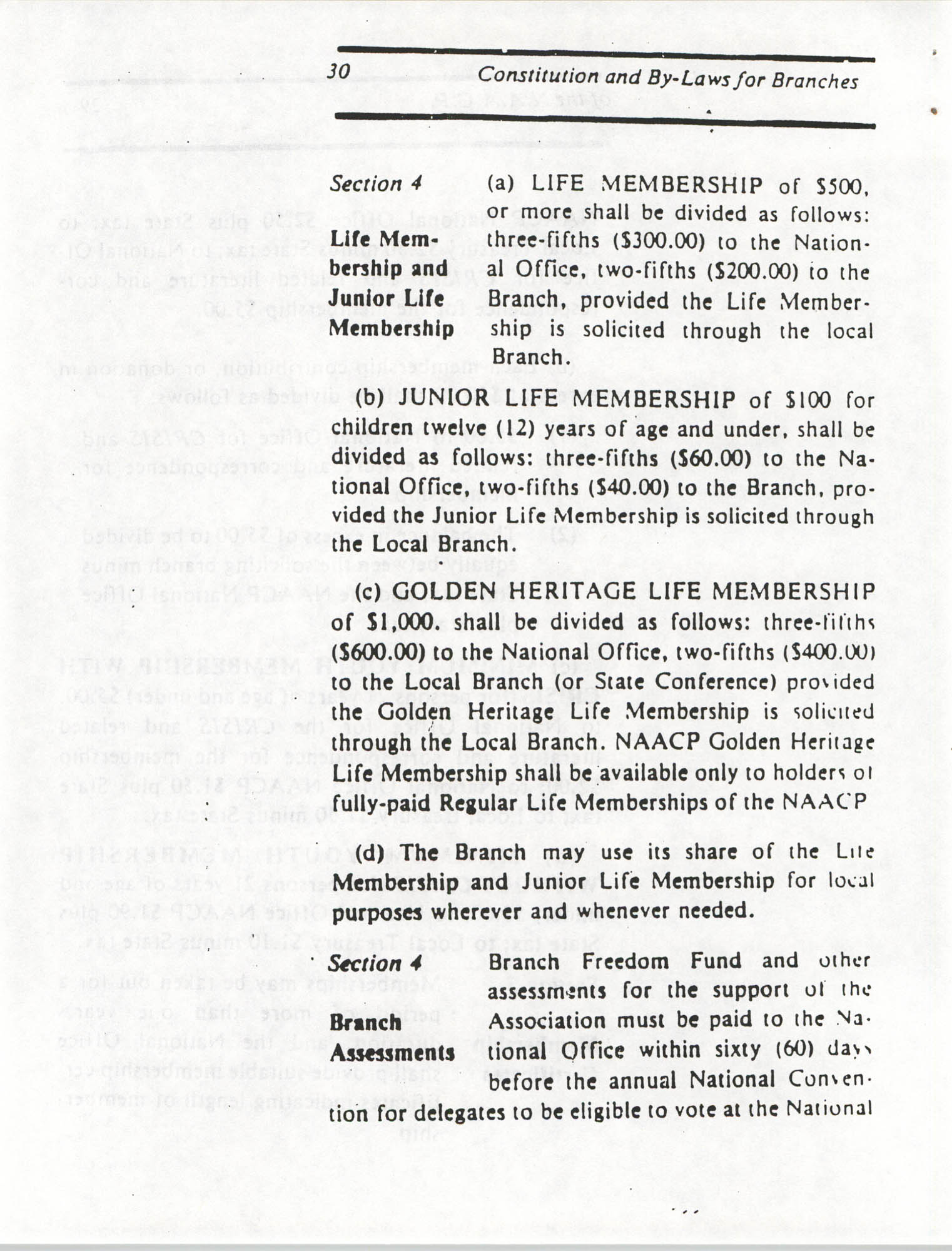 Constitution and By-Laws for Branches of the NAACP, March 1992, Page 30