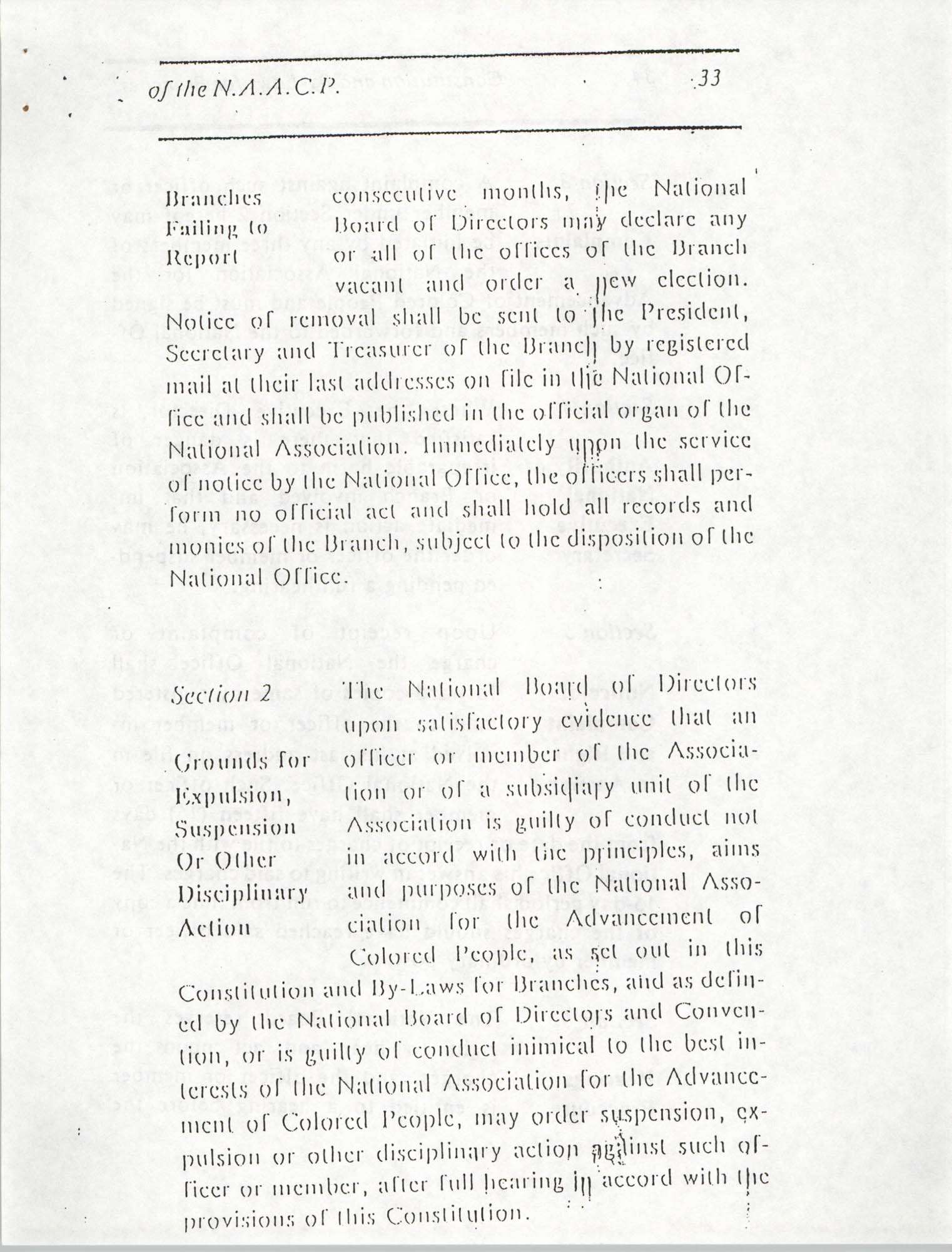 Constitution and By-Laws for Branches of the NAACP, March 1992, Page 33