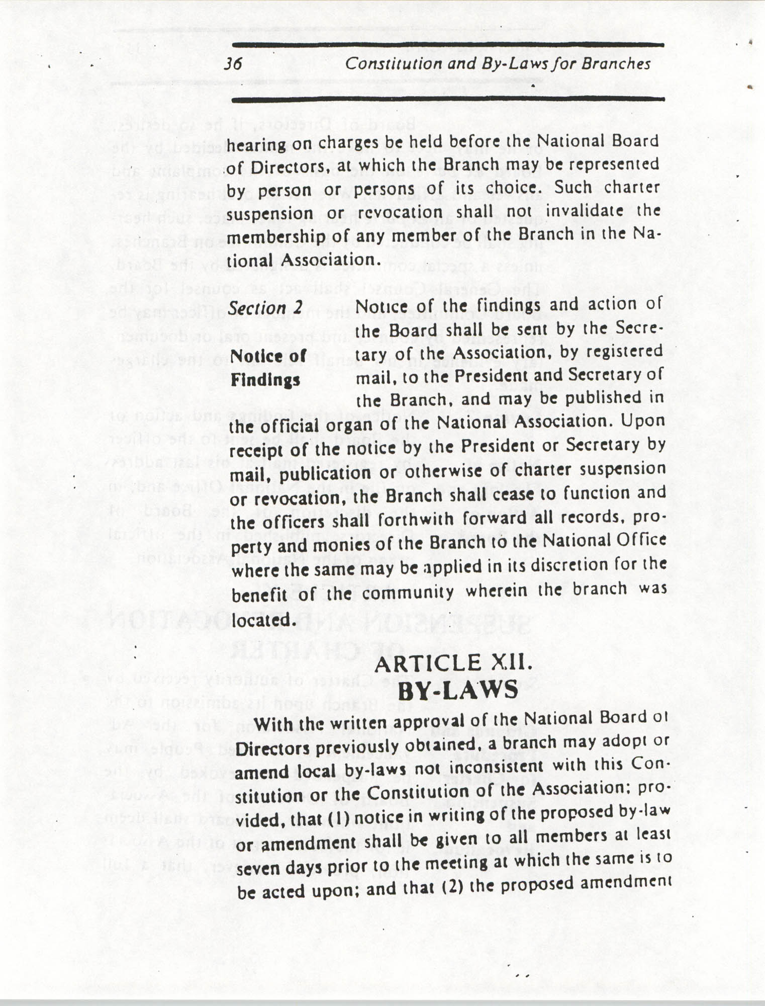 Constitution and By-Laws for Branches of the NAACP, March 1992, Page 36