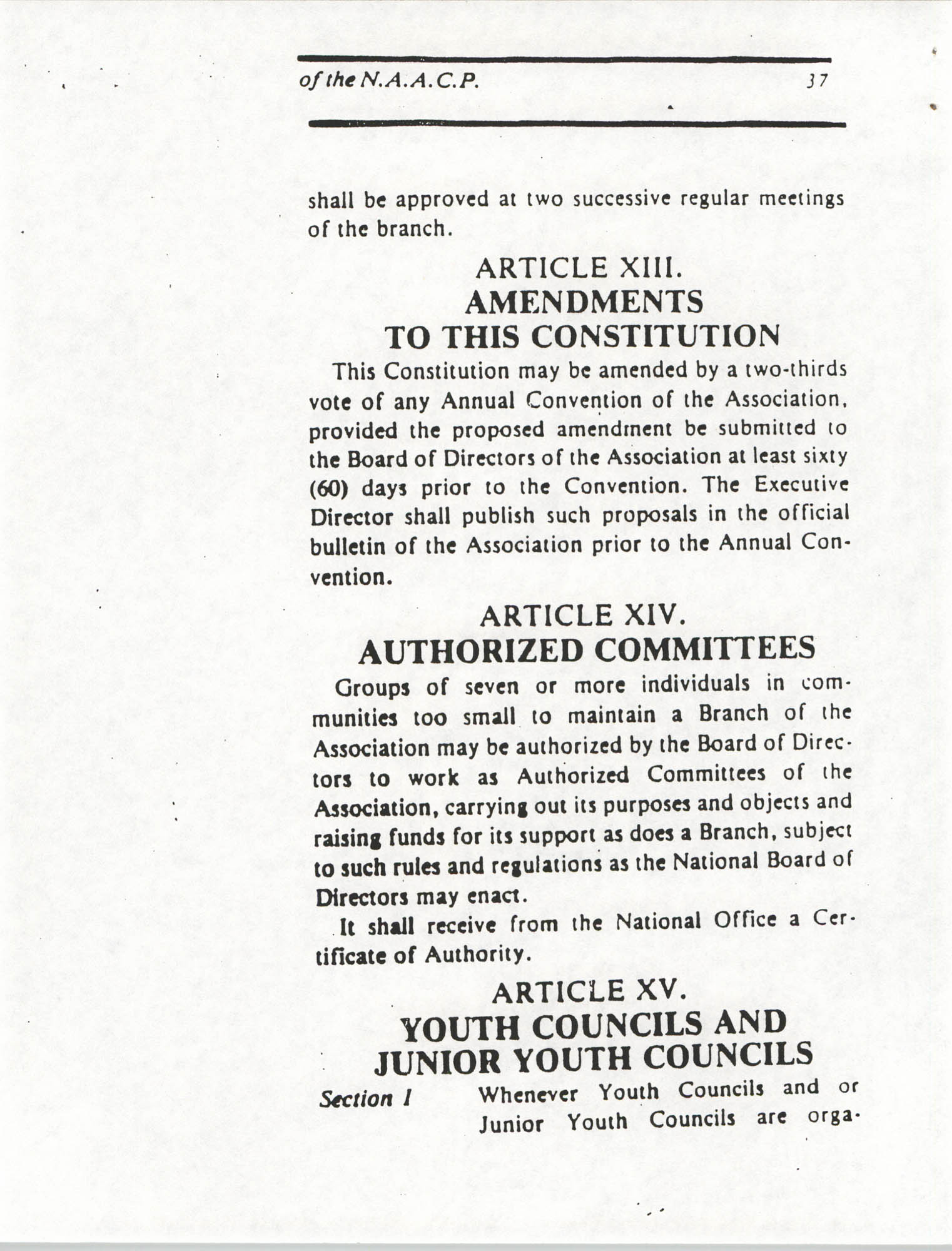 Constitution and By-Laws for Branches of the NAACP, March 1992, Page 37