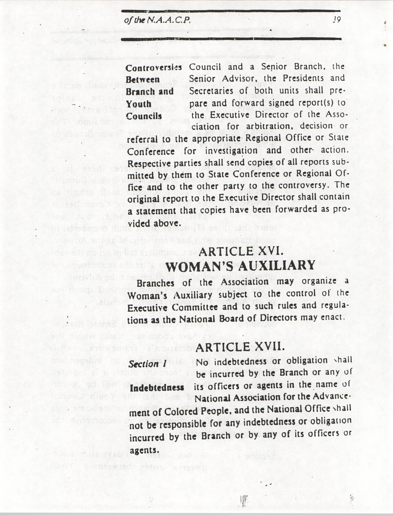 Constitution and By-Laws for Branches of the NAACP, March 1992, Page 39