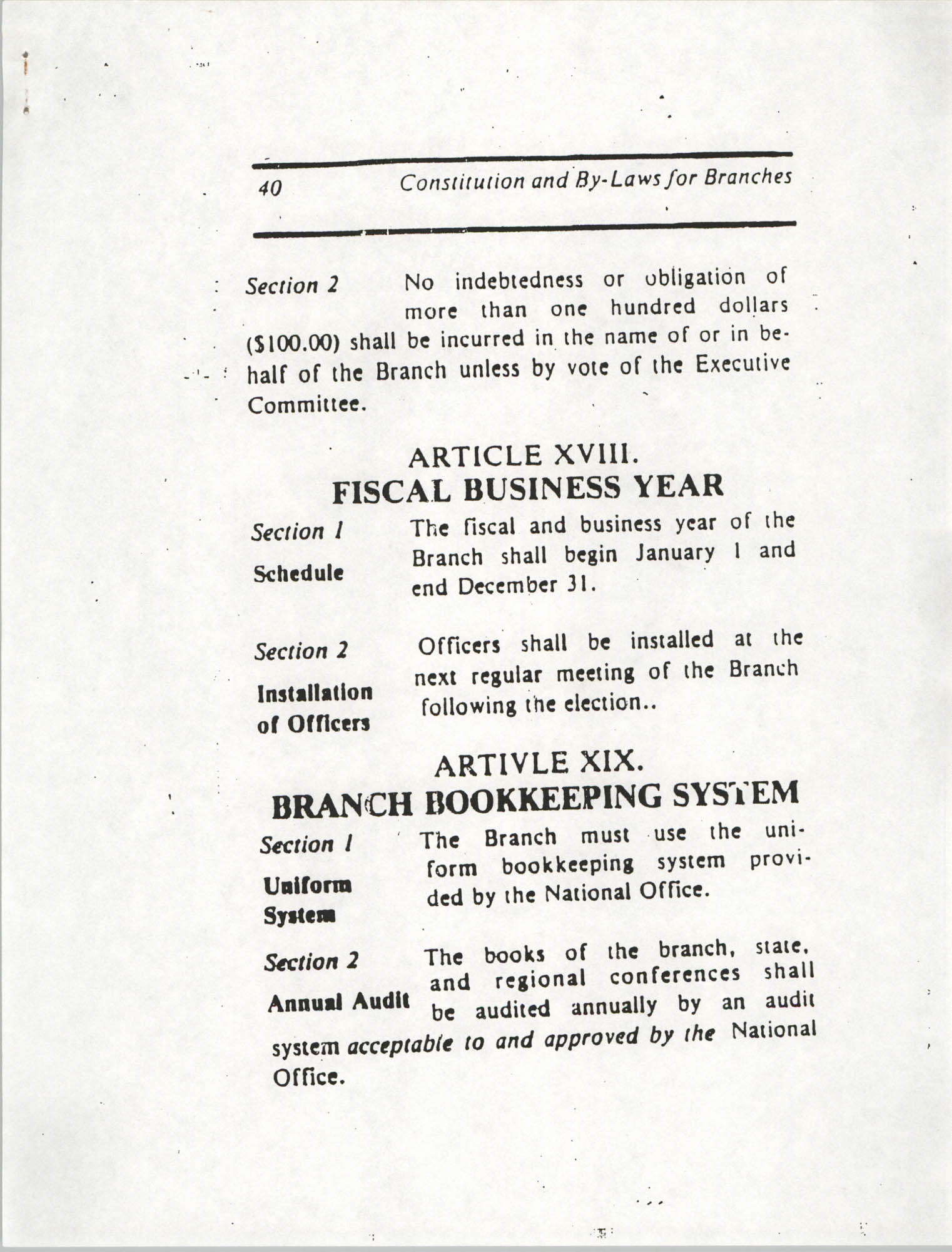 Constitution and By-Laws for Branches of the NAACP, March 1992, Page 40