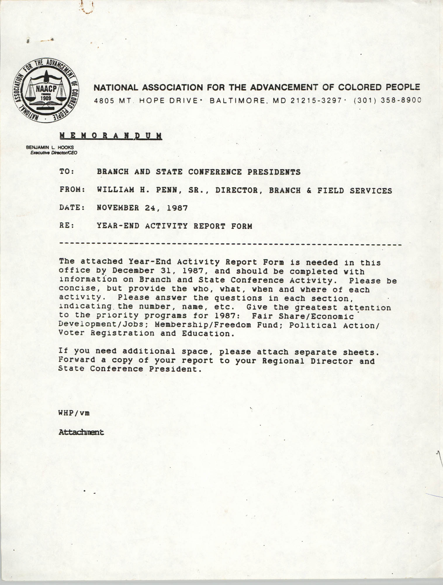 Memorandum from William H. Penn, Sr. to Branch and State Conference Presidents, November 24, 1987