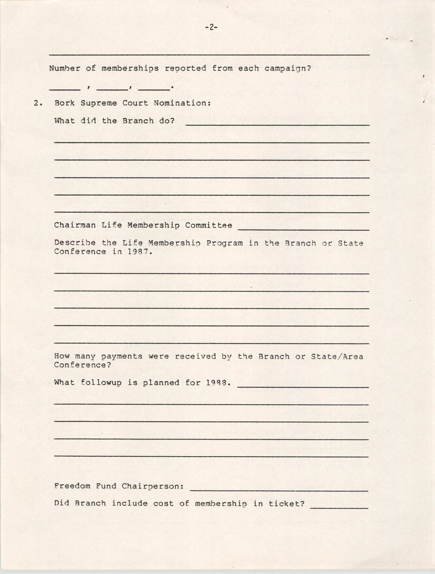 Annual Report of Branch Activities, 1987, Page 2