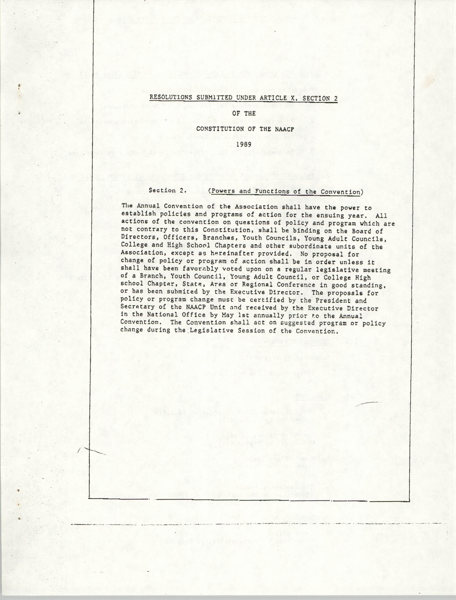 Resolutions Submitted Under Article X, Section 2 of the Constitution of the NAACP, Cover