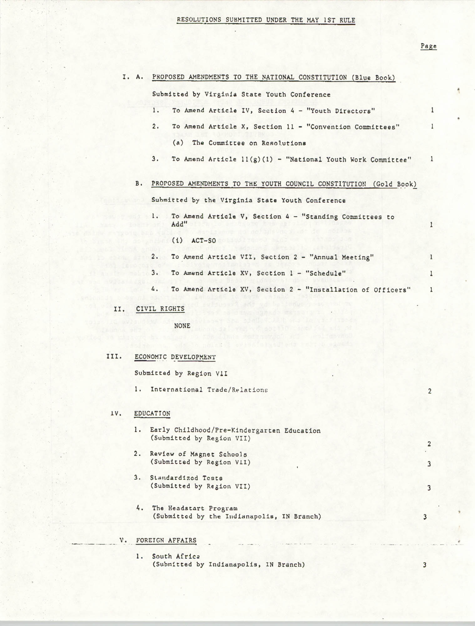 Resolutions Submitted Under Article X, Section 2 of the Constitution of the NAACP, Table of Contents Page 1