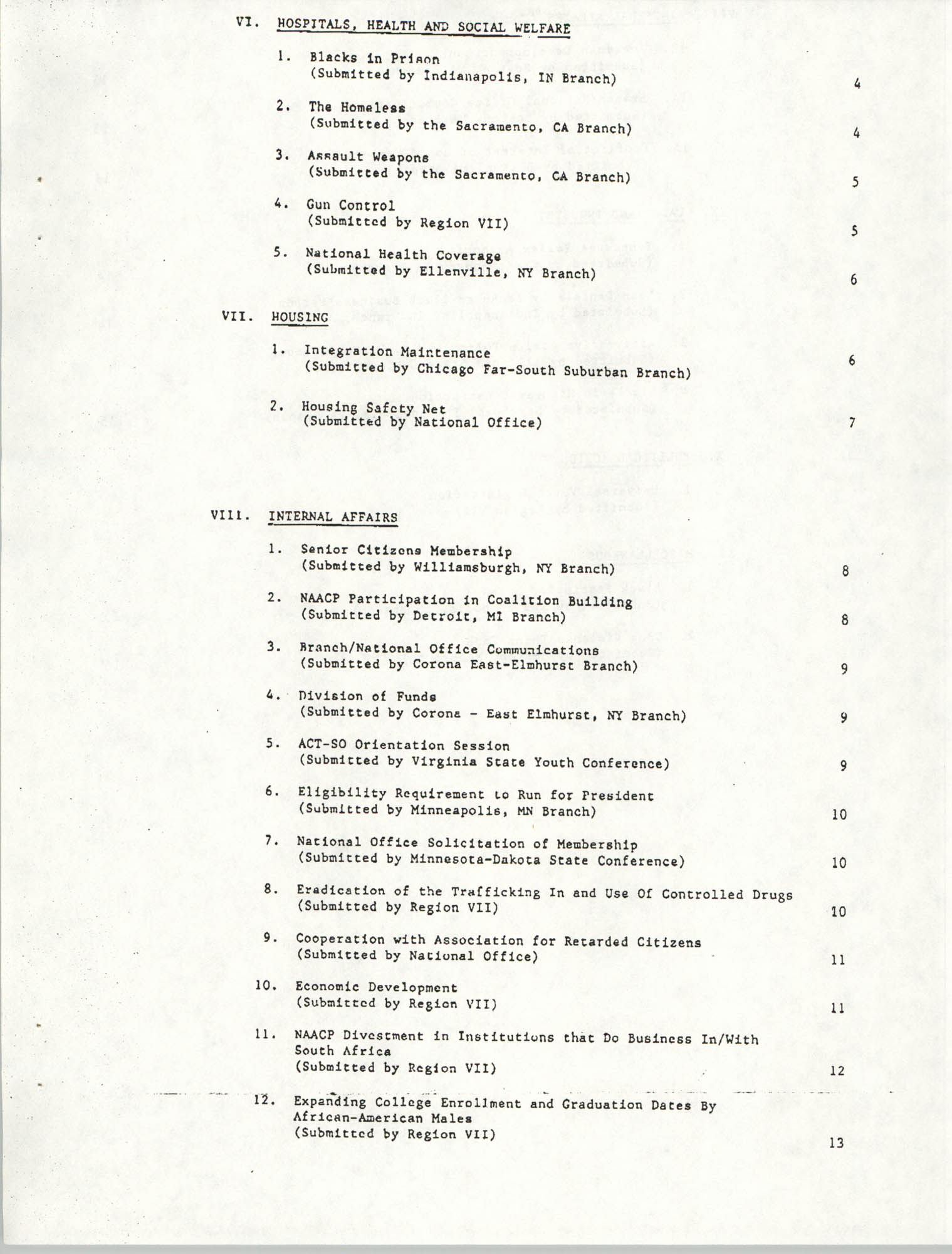 Resolutions Submitted Under Article X, Section 2 of the Constitution of the NAACP, Table of Contents Page 2