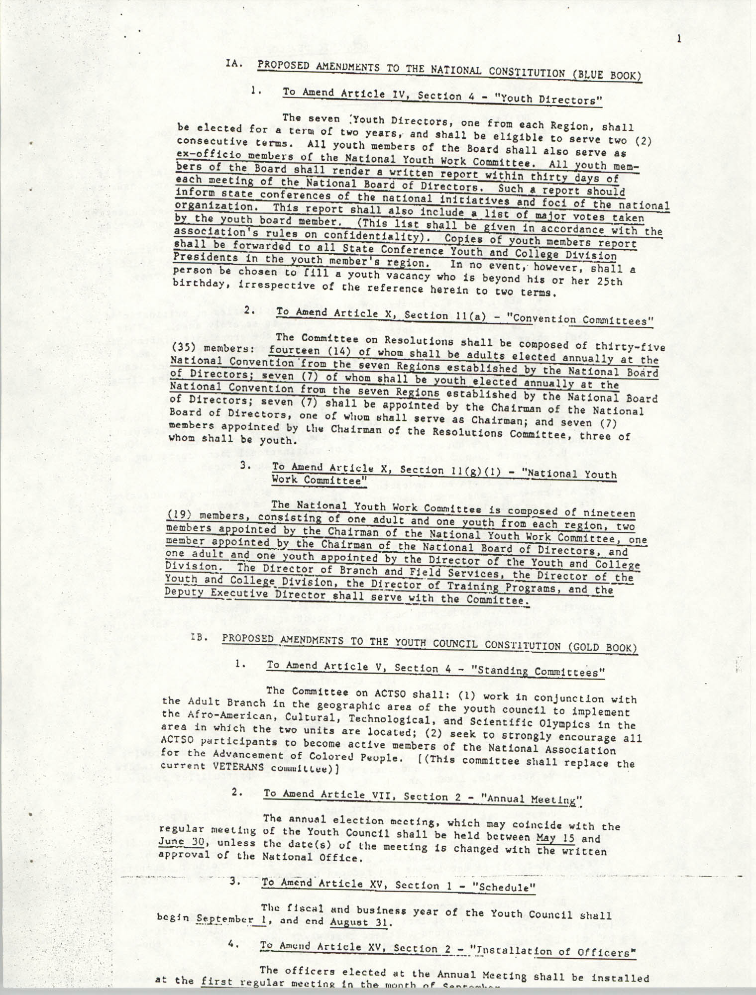 Resolutions Submitted Under Article X, Section 2 of the Constitution of the NAACP, Page 1