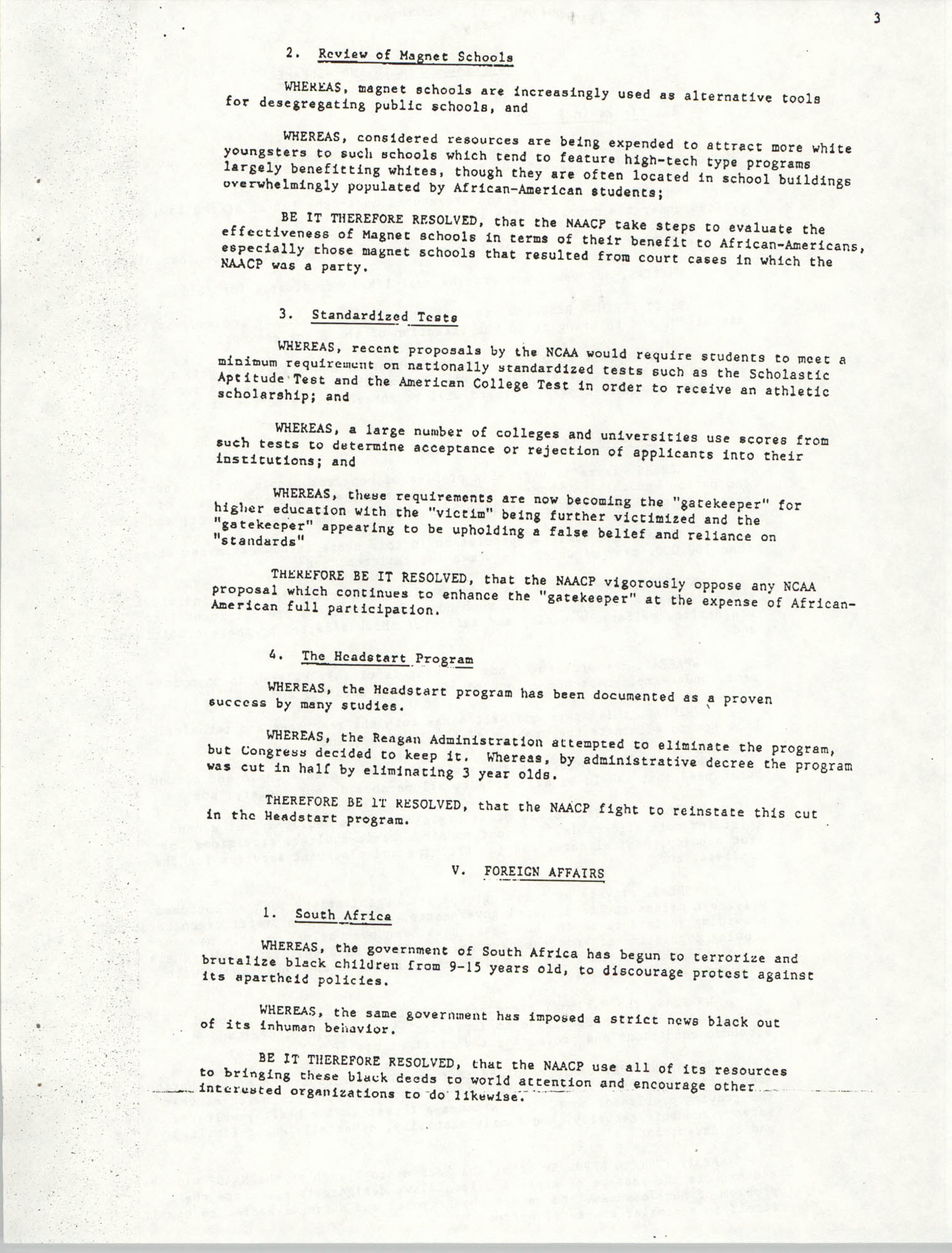 Resolutions Submitted Under Article X, Section 2 of the Constitution of the NAACP, Page 3