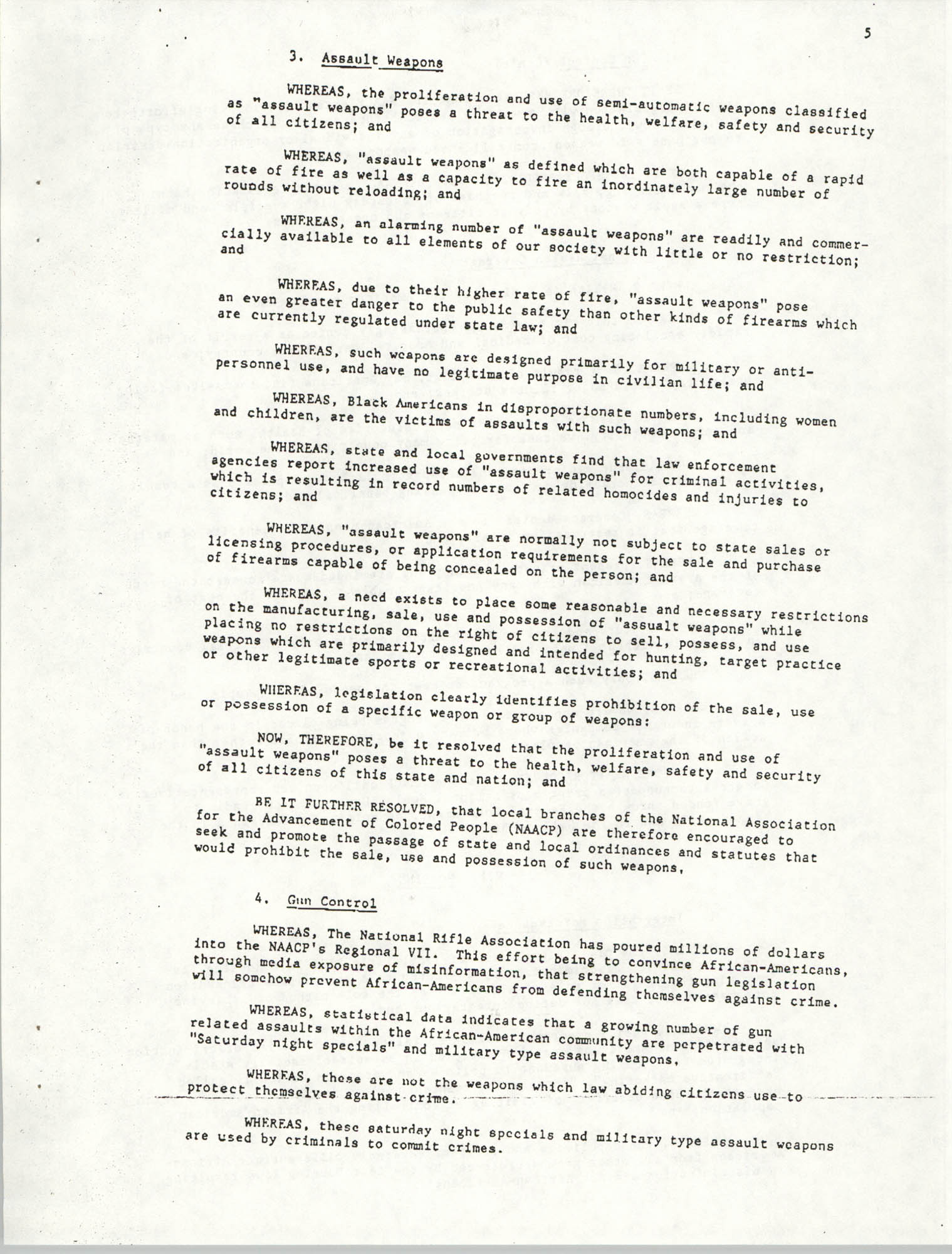 Resolutions Submitted Under Article X, Section 2 of the Constitution of the NAACP, Page 5