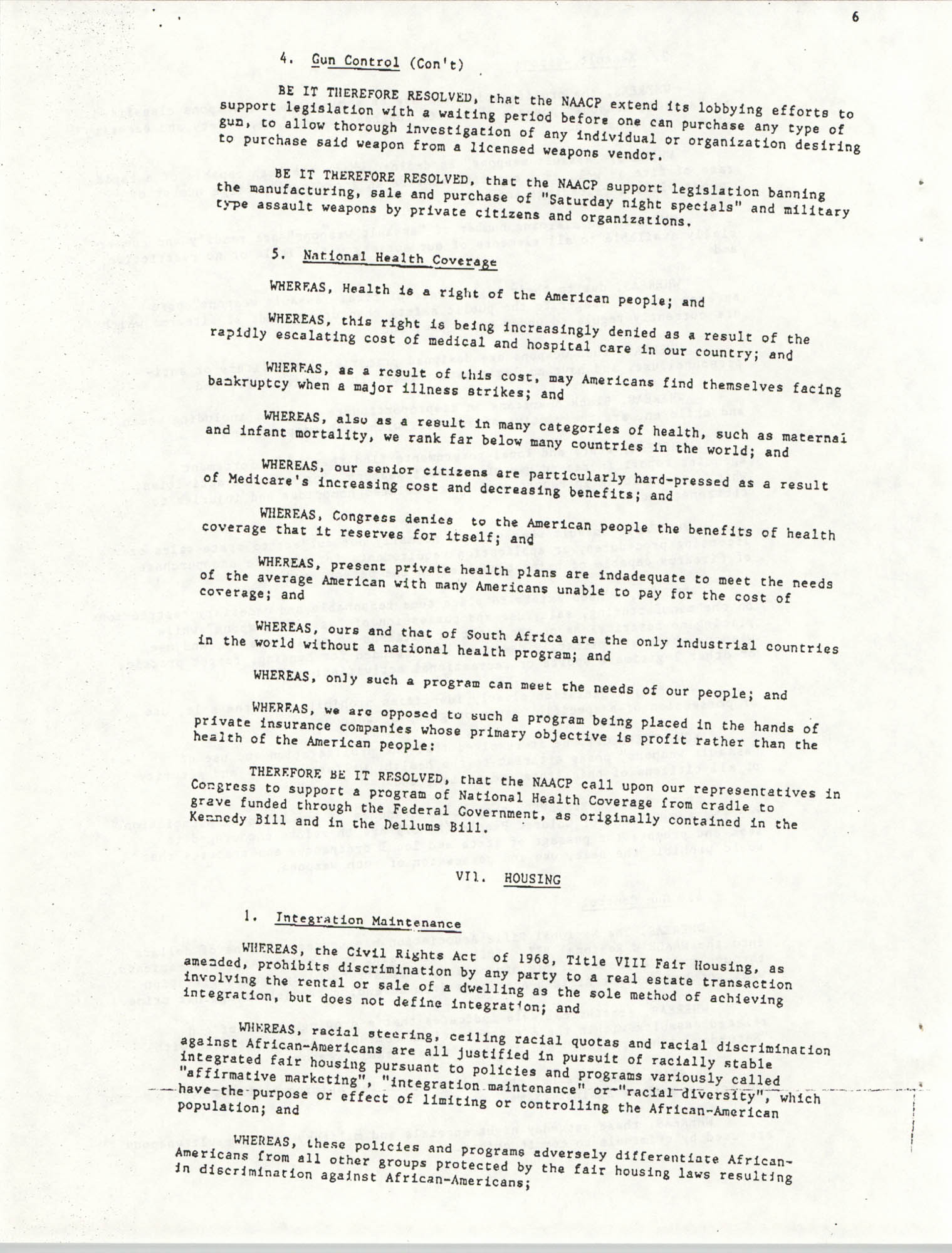Resolutions Submitted Under Article X, Section 2 of the Constitution of the NAACP, Page 6