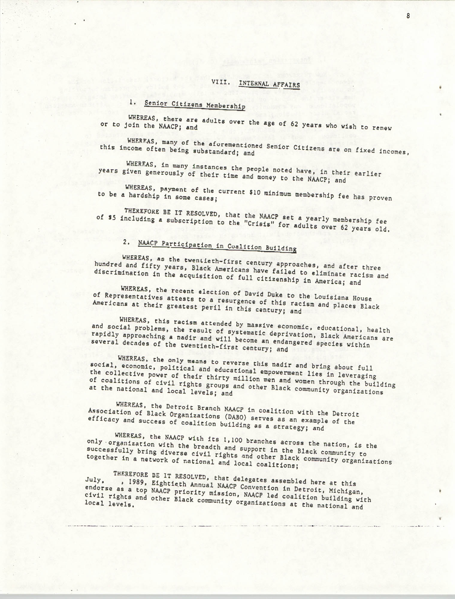 Resolutions Submitted Under Article X, Section 2 of the Constitution of the NAACP, Page 8