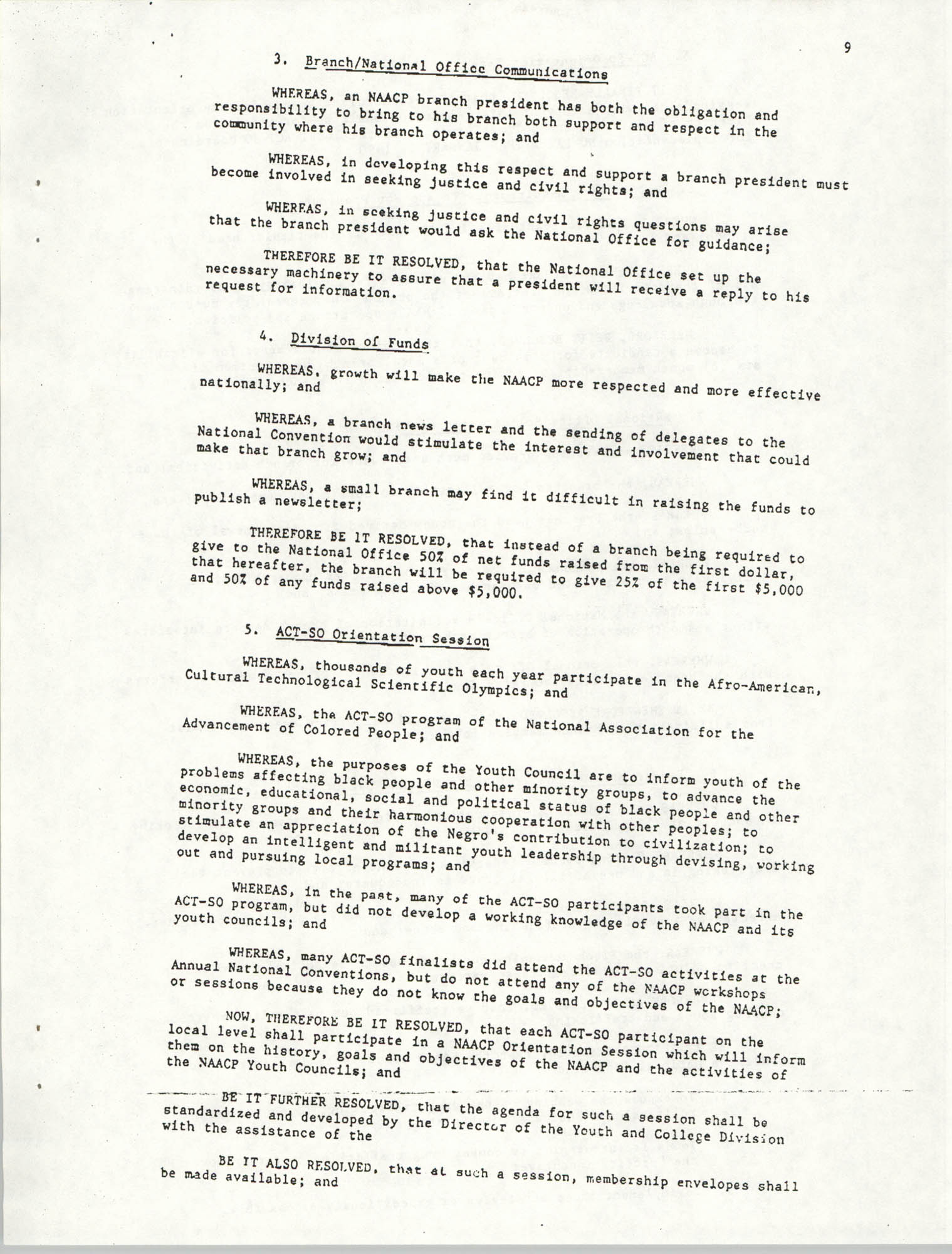 Resolutions Submitted Under Article X, Section 2 of the Constitution of the NAACP, Page 9