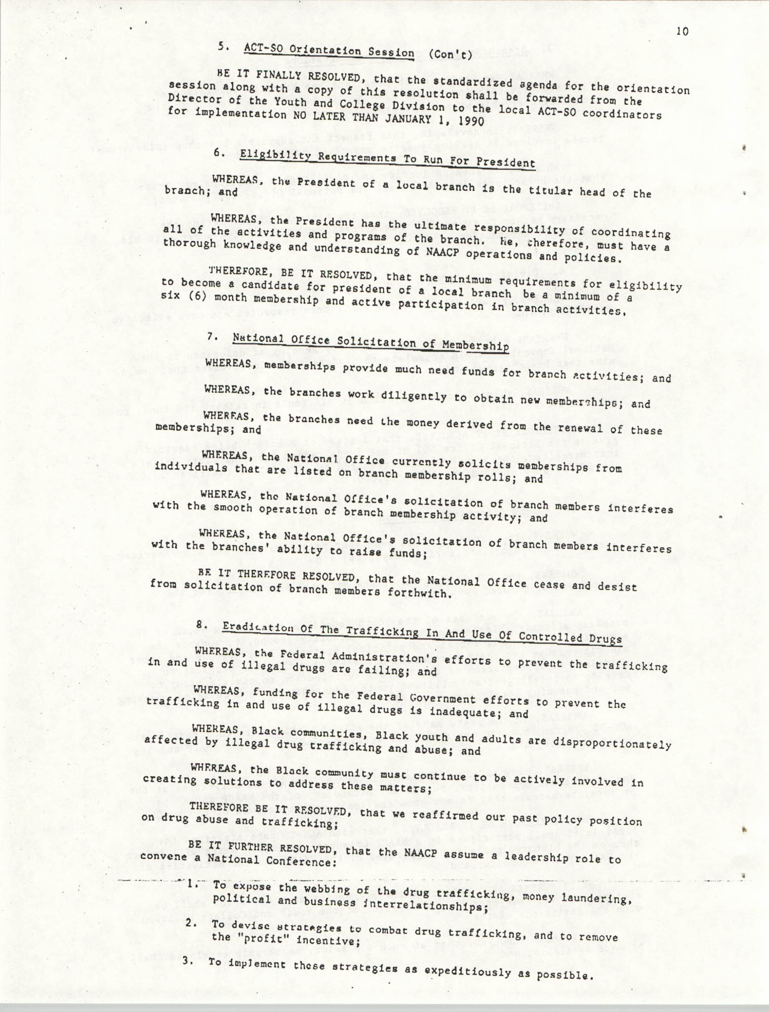 Resolutions Submitted Under Article X, Section 2 of the Constitution of the NAACP, Page 10