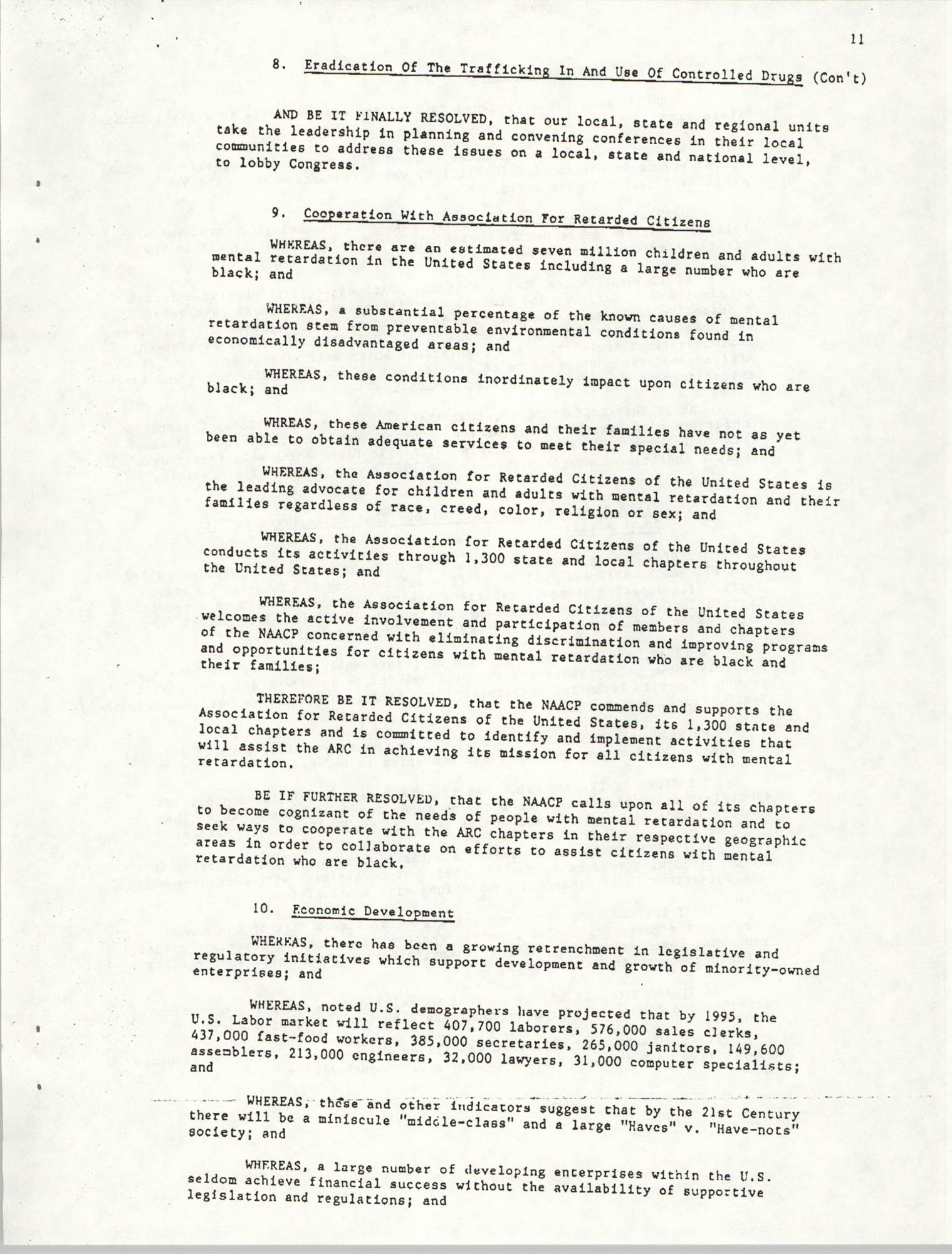 Resolutions Submitted Under Article X, Section 2 of the Constitution of the NAACP, Page 11