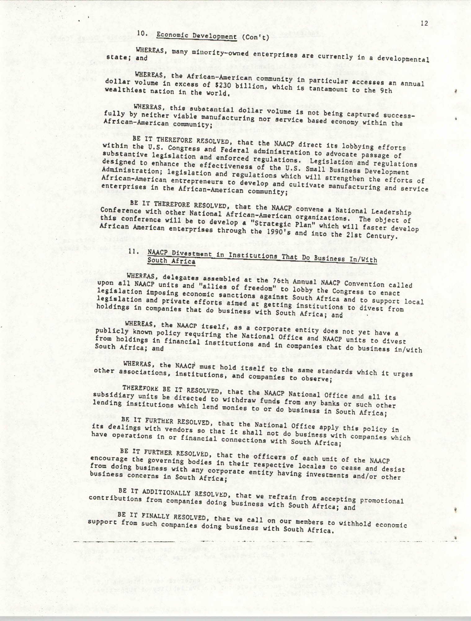 Resolutions Submitted Under Article X, Section 2 of the Constitution of the NAACP, Page 12