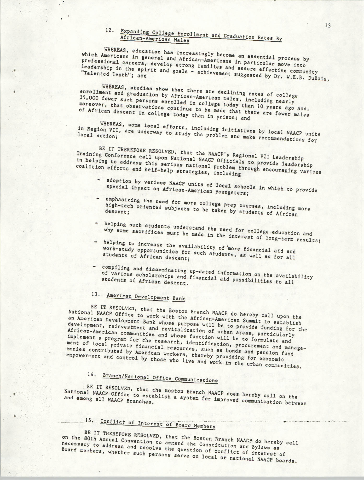 Resolutions Submitted Under Article X, Section 2 of the Constitution of the NAACP, Page 13