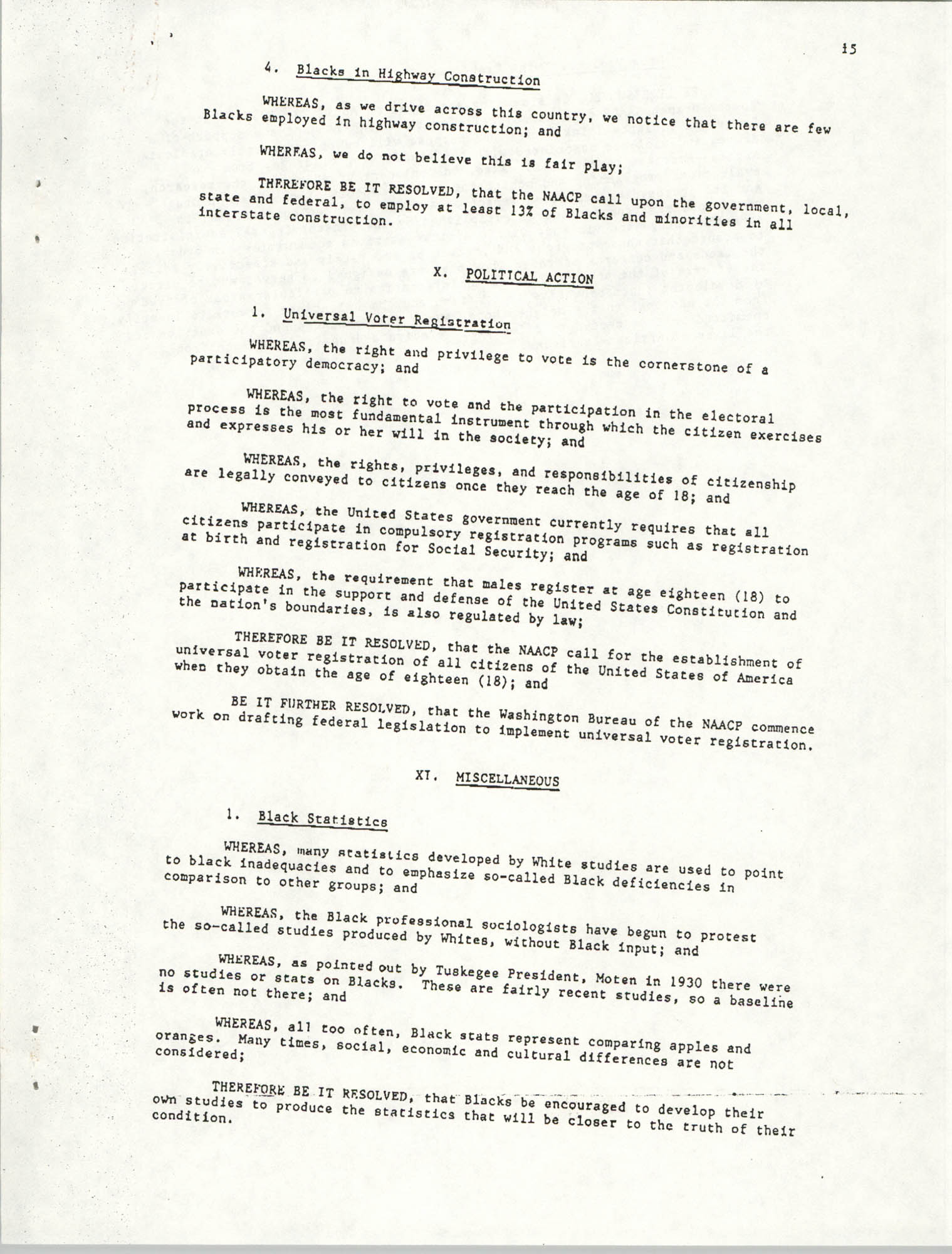 Resolutions Submitted Under Article X, Section 2 of the Constitution of the NAACP, Page 15