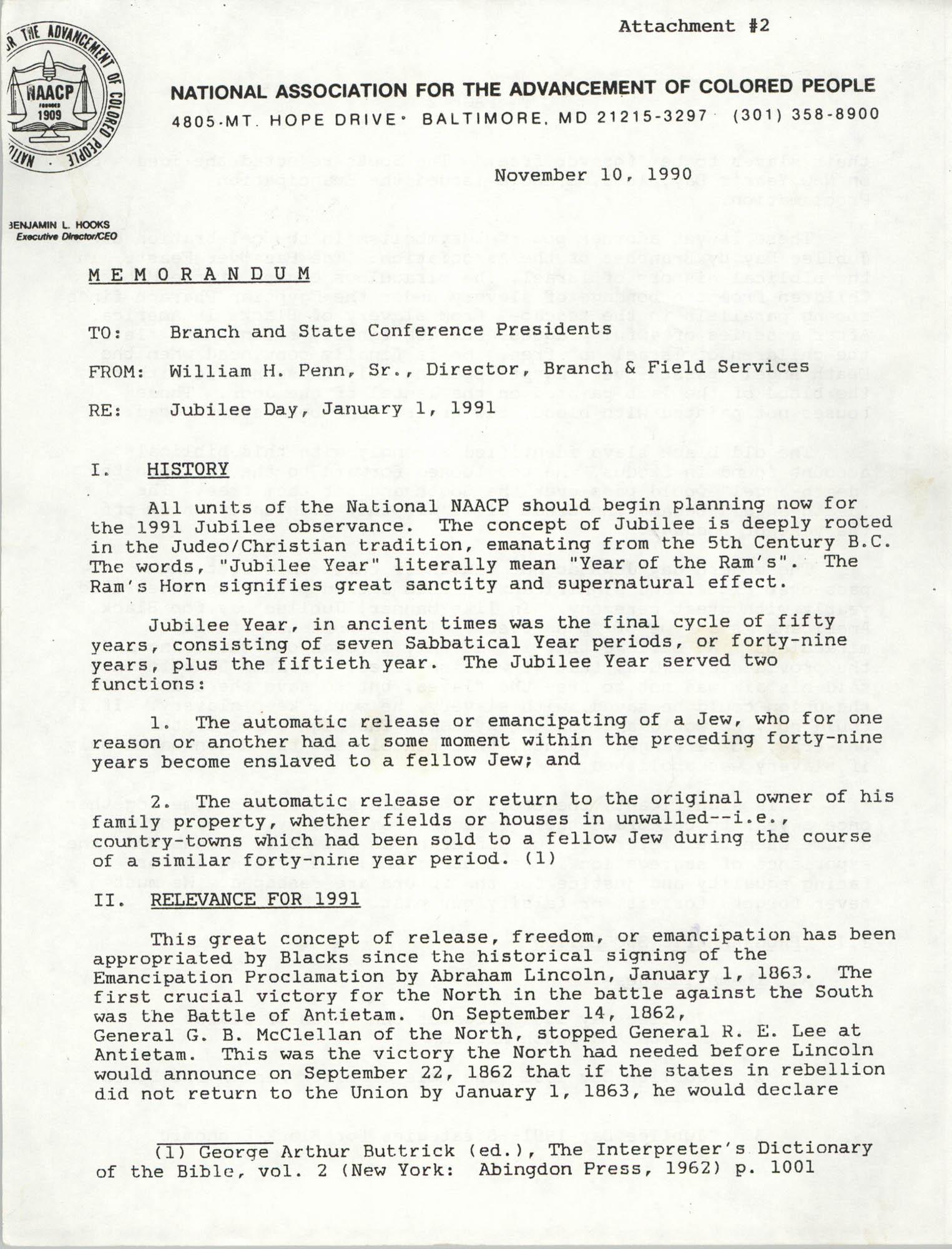 NAACP Memorandum, November 10, 1990, Page 1