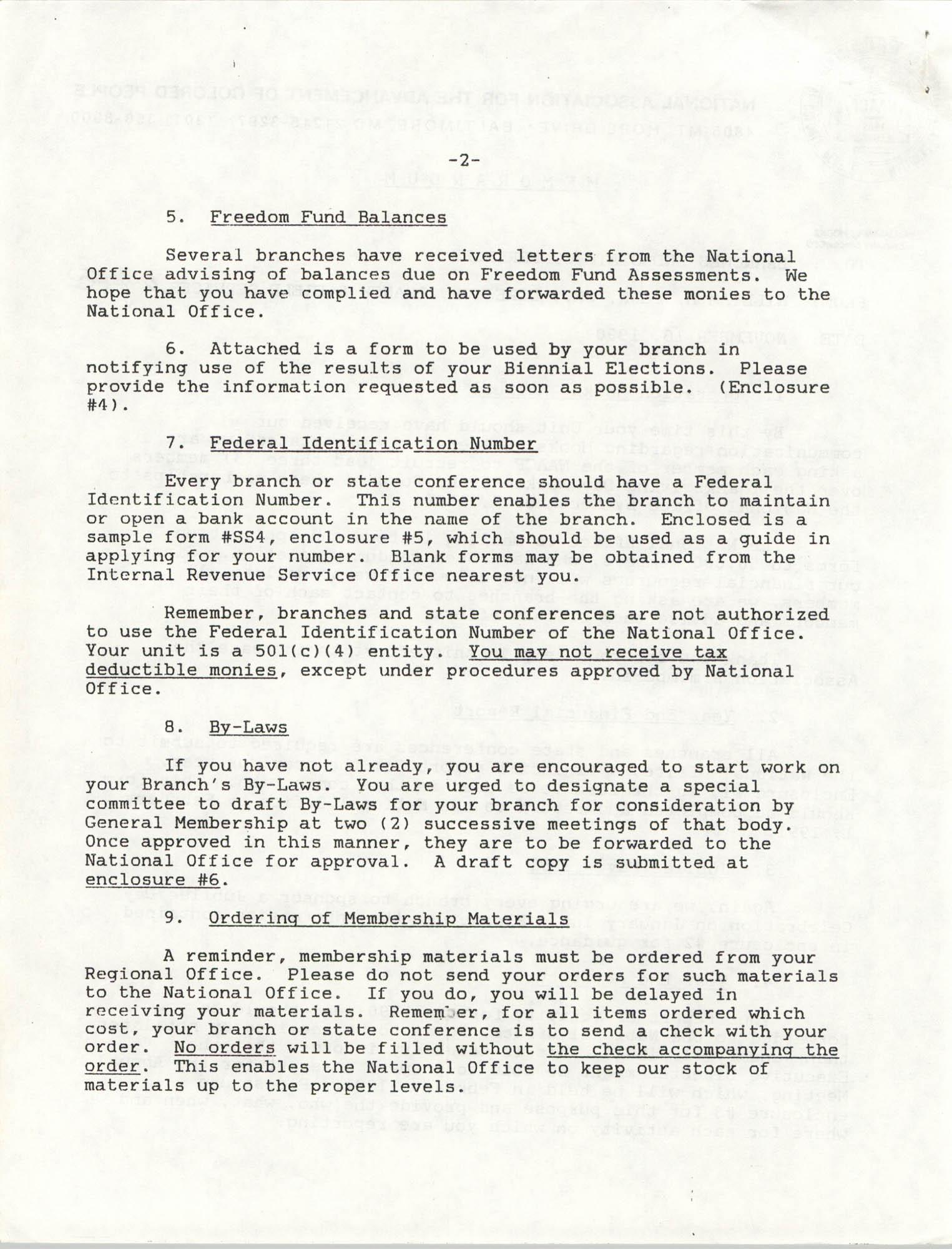 NAACP Memorandum, November 16, 1990, Page 1