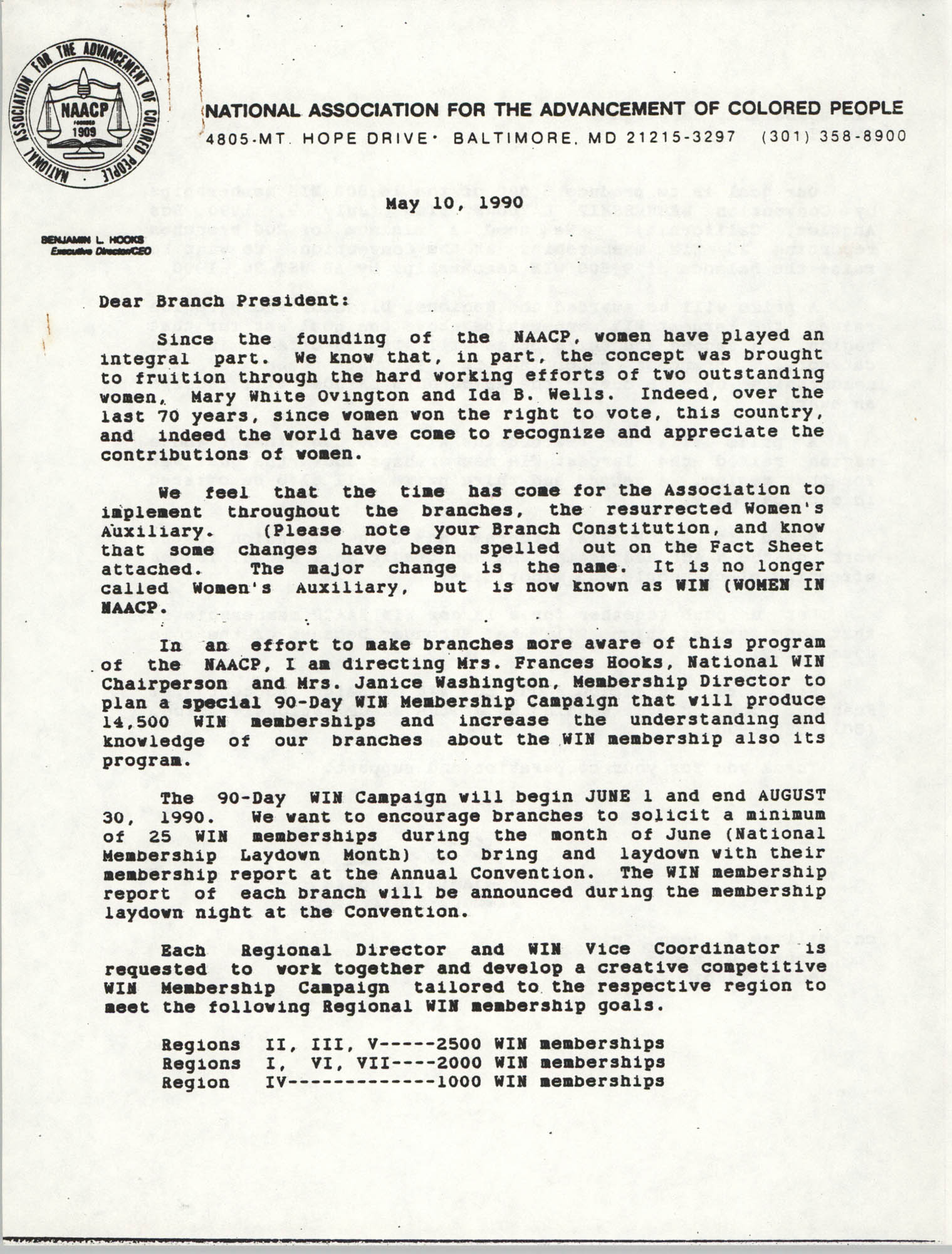 NAACP Memorandum, May 10, 1990, Page 1