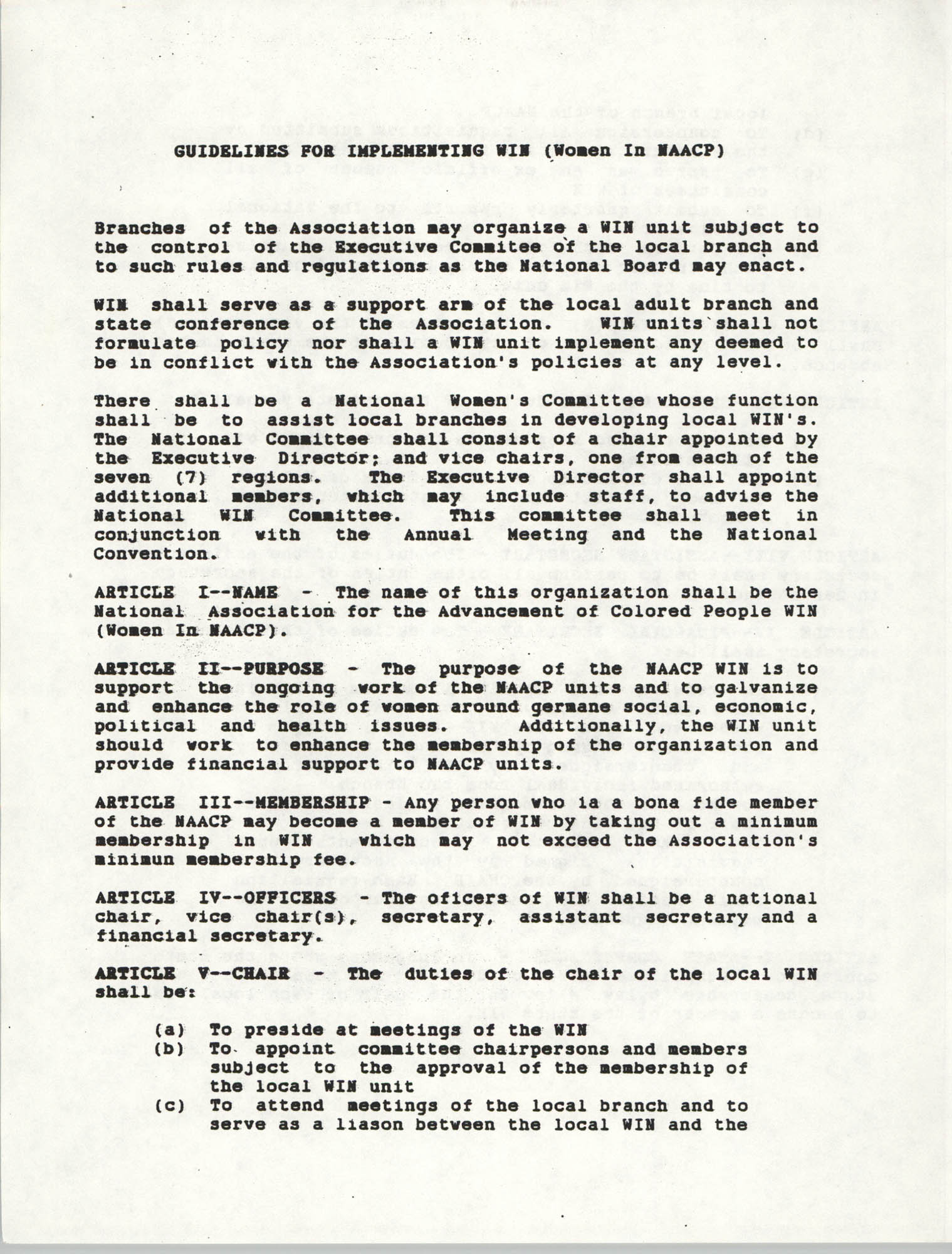 Guidelines for Implementing WIN (Women In NAACP), Page 1