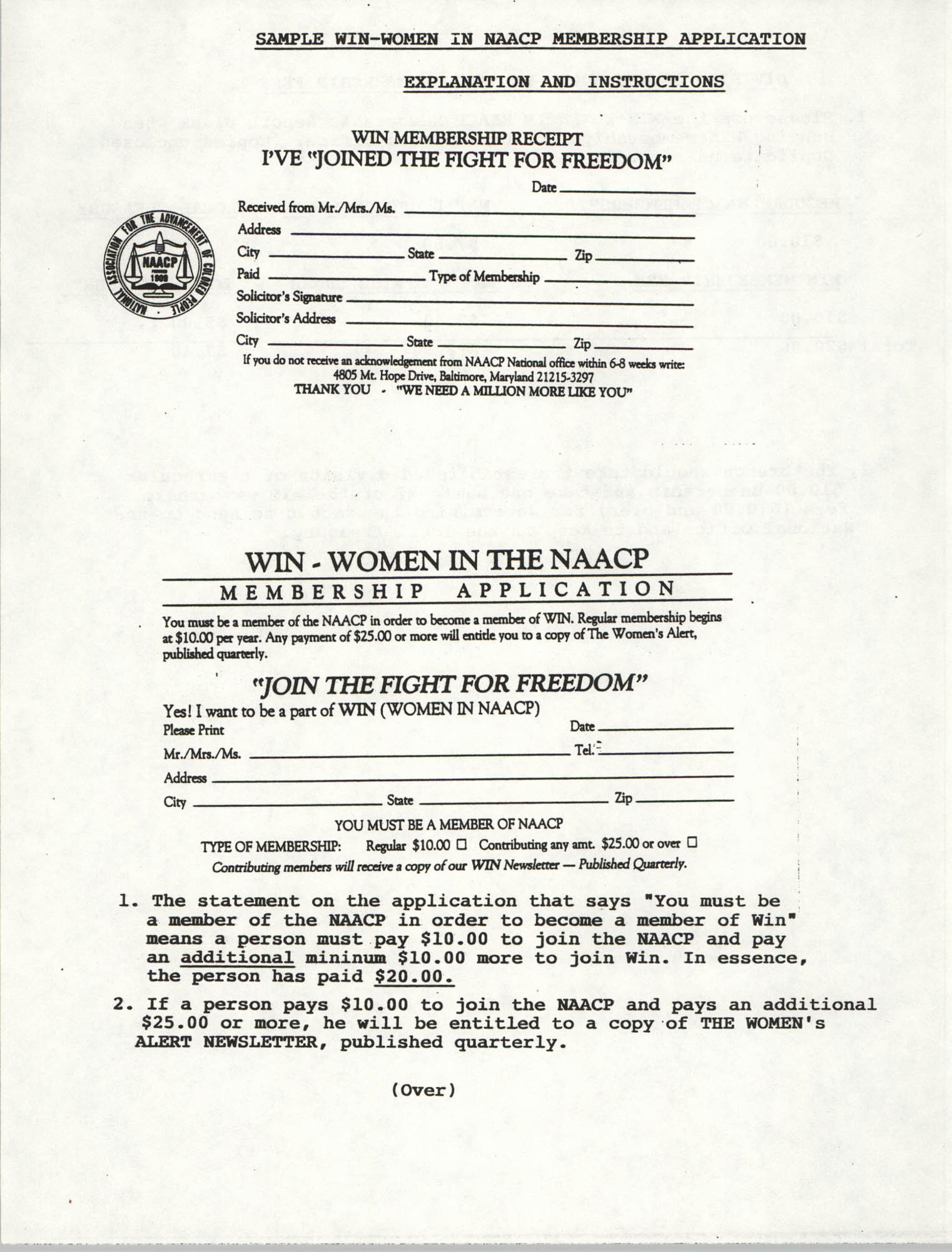 Sample WIN-Women In NAACP Membership Application Explanation and Instructions, Page 1