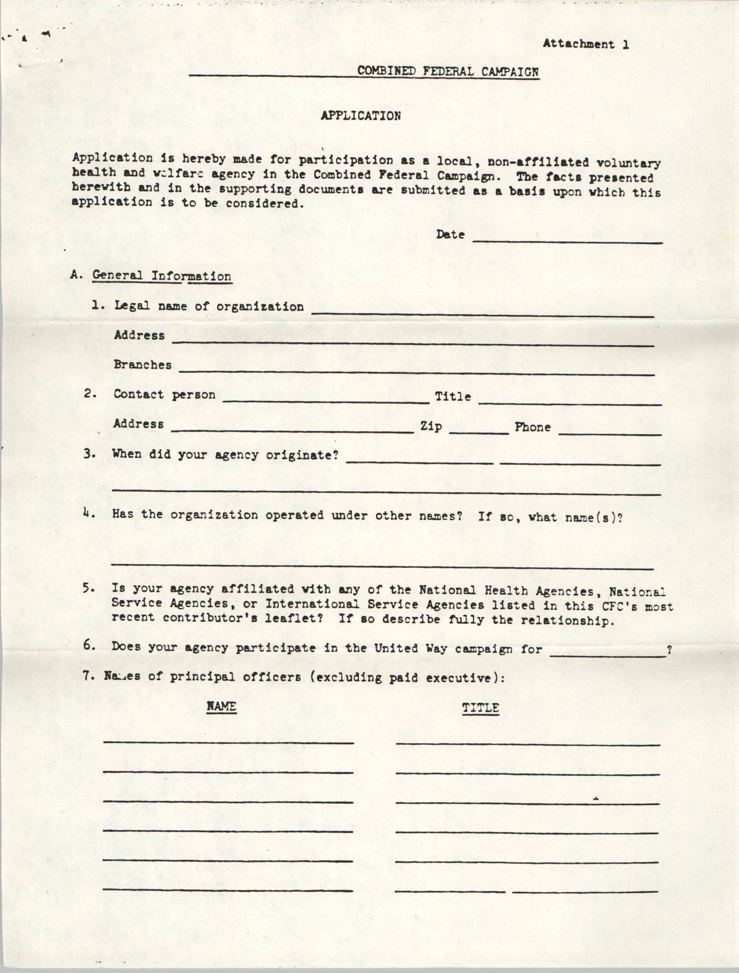Combined Federal Campaign Application, Page 1