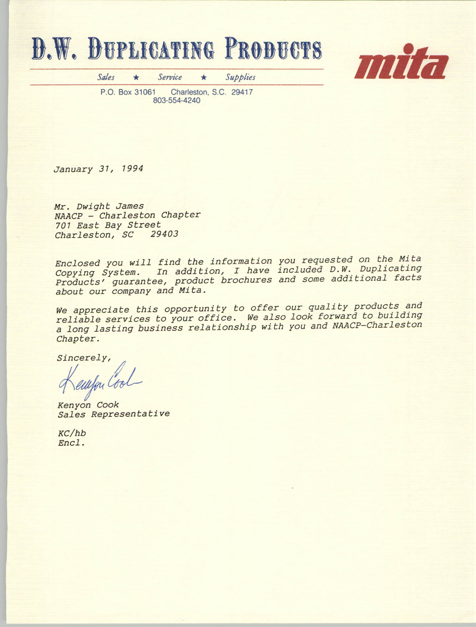 Letter from Kenyon Cook to Dwight James, February 7, 1994