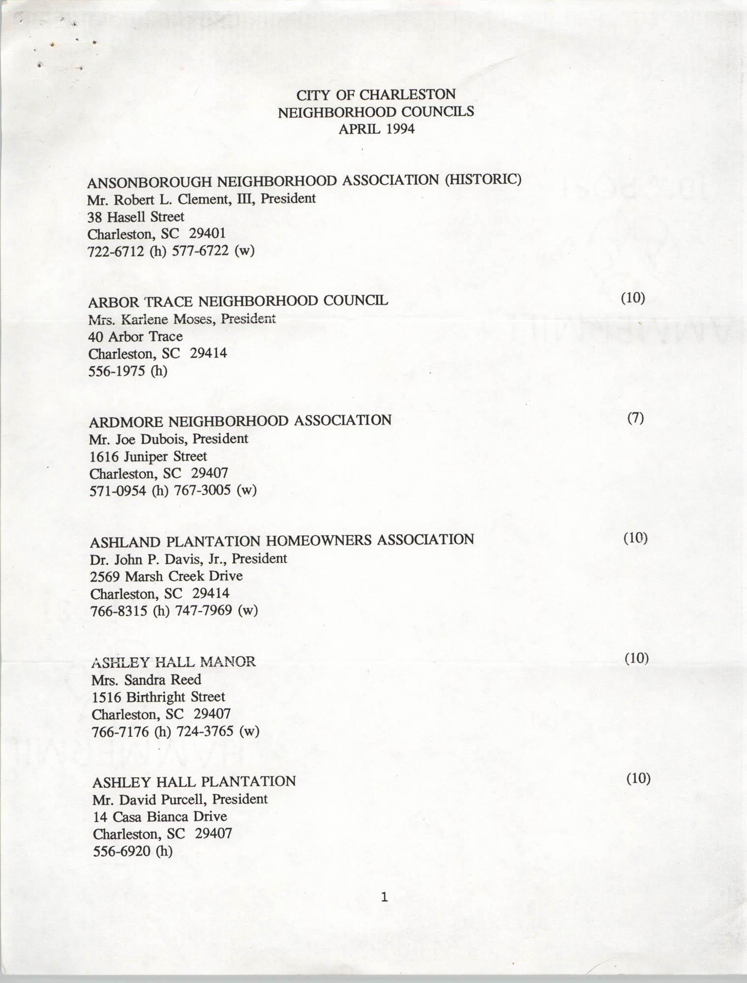 City of Charleston Neighborhood Councils, April 1994, Page 1