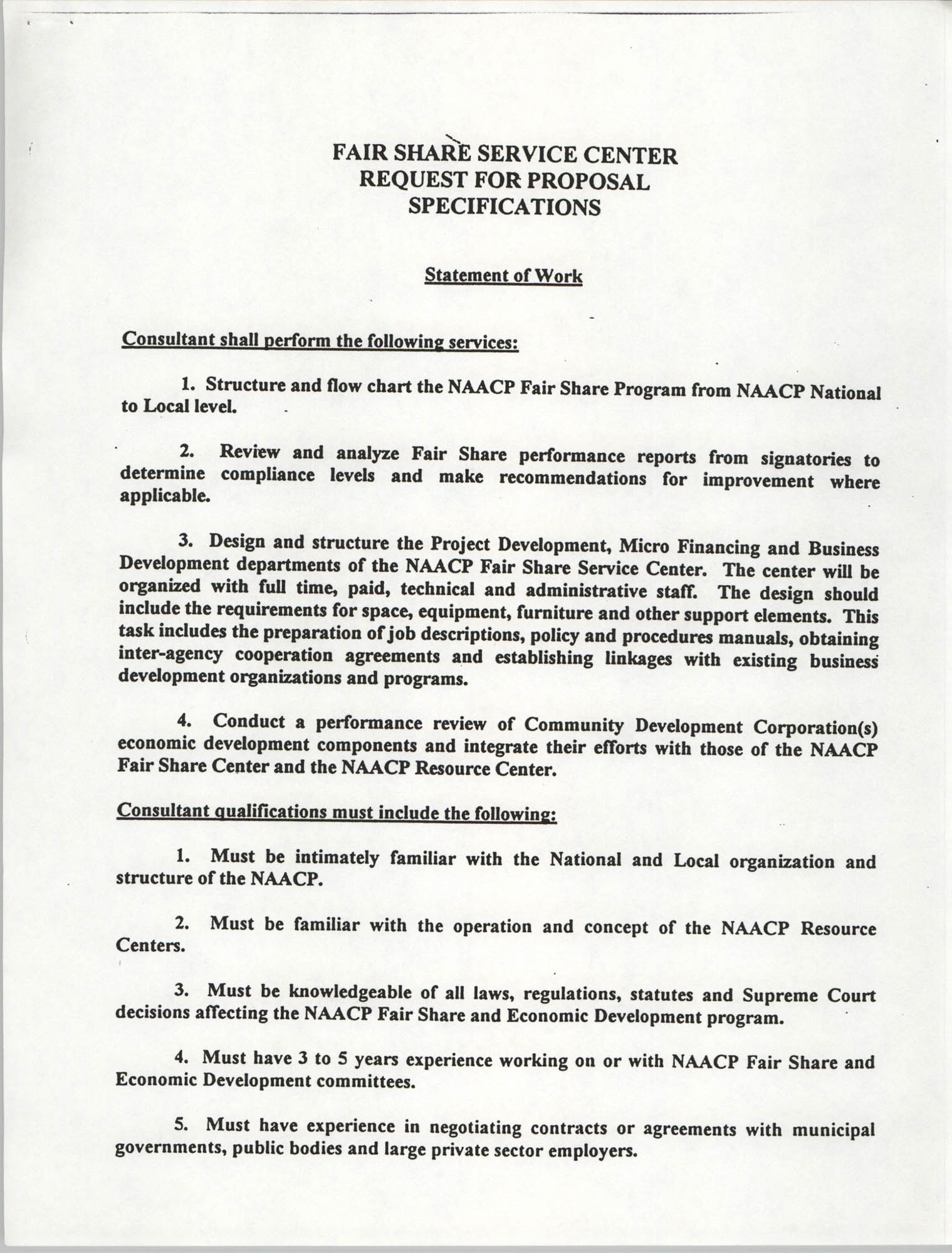 Fair Share Service Center Request for Proposal Specifications, Page 1