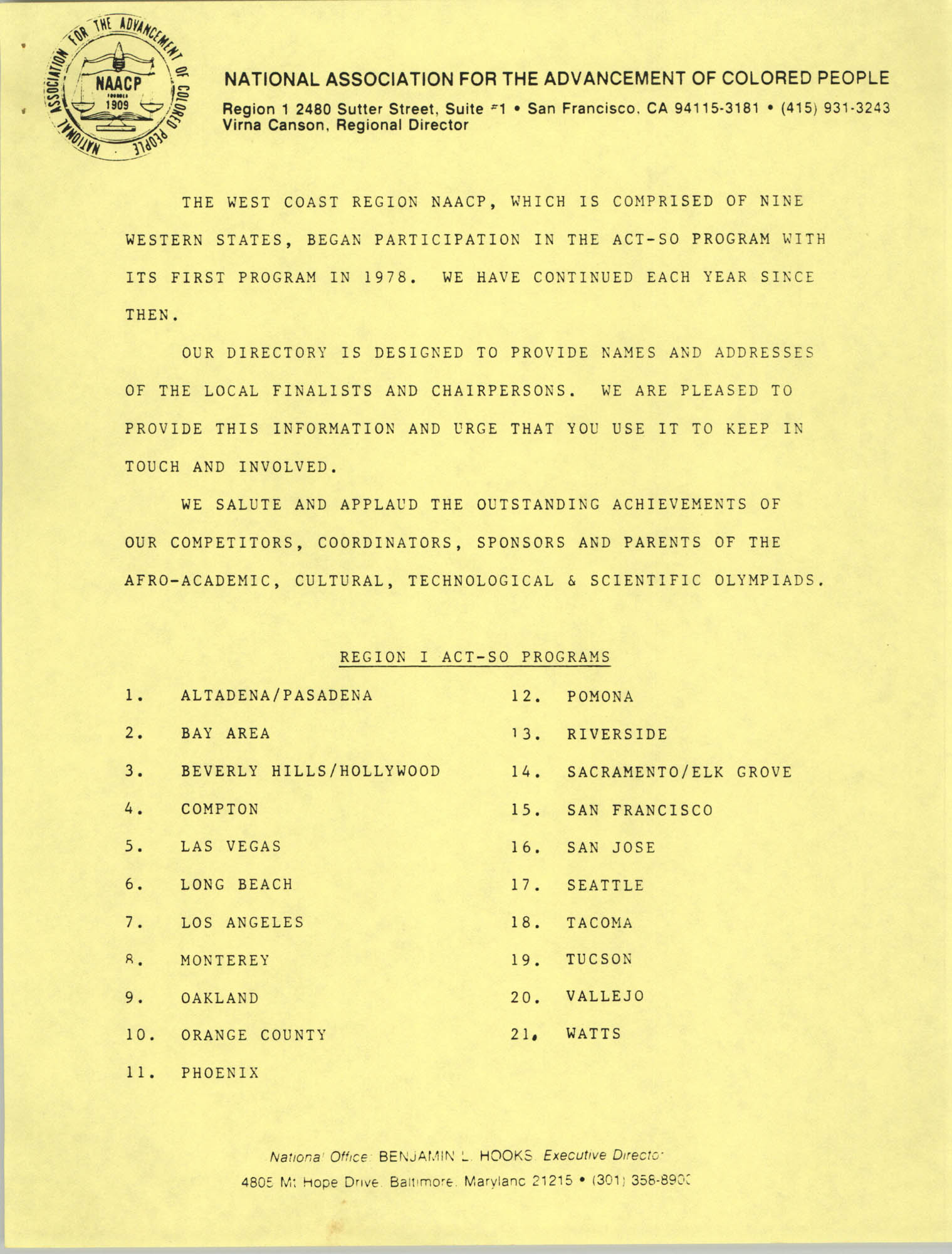 1987 Act-So Contestants, NAACP West Coast Region, Introduction Page