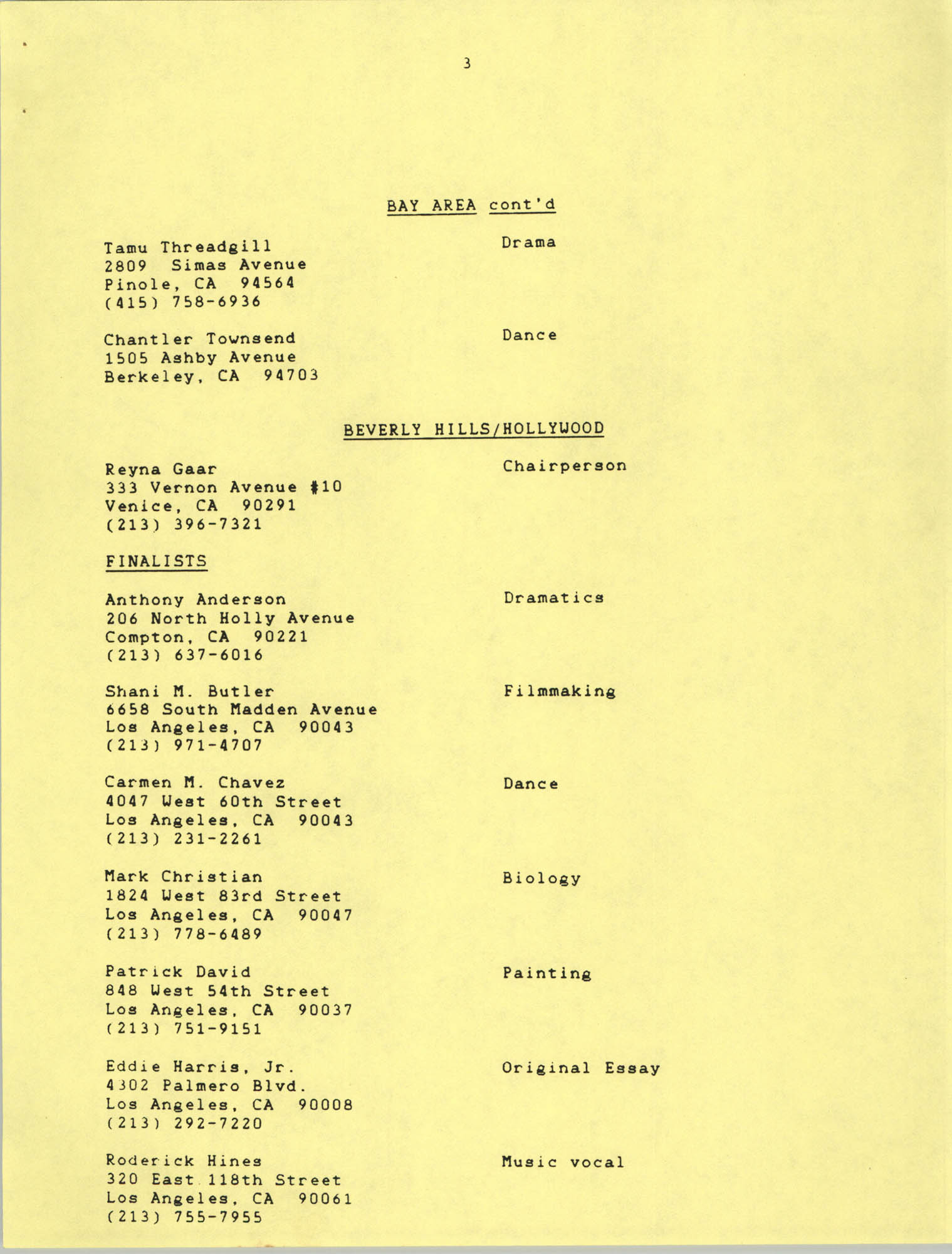 1987 Act-So Contestants, NAACP West Coast Region, Page 3