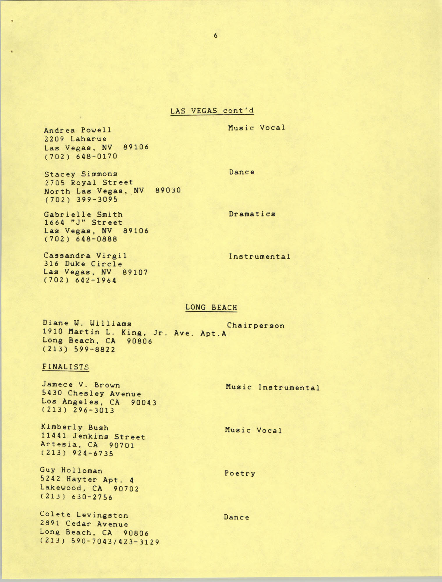 1987 Act-So Contestants, NAACP West Coast Region, Page 6