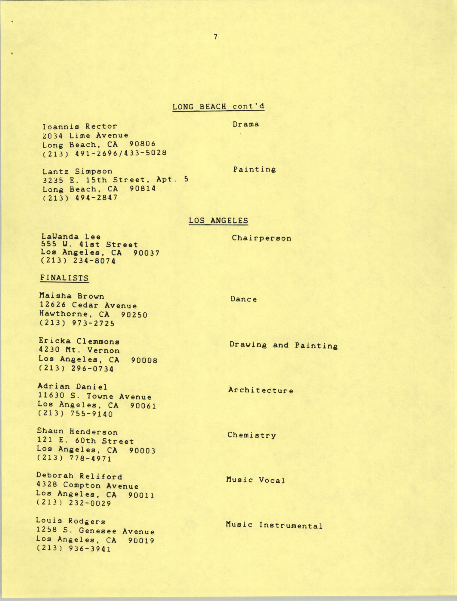 1987 Act-So Contestants, NAACP West Coast Region, Page 7