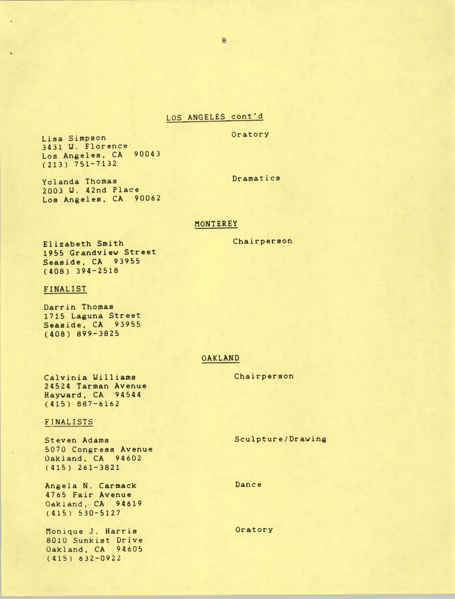 1987 Act-So Contestants, NAACP West Coast Region, Page 8