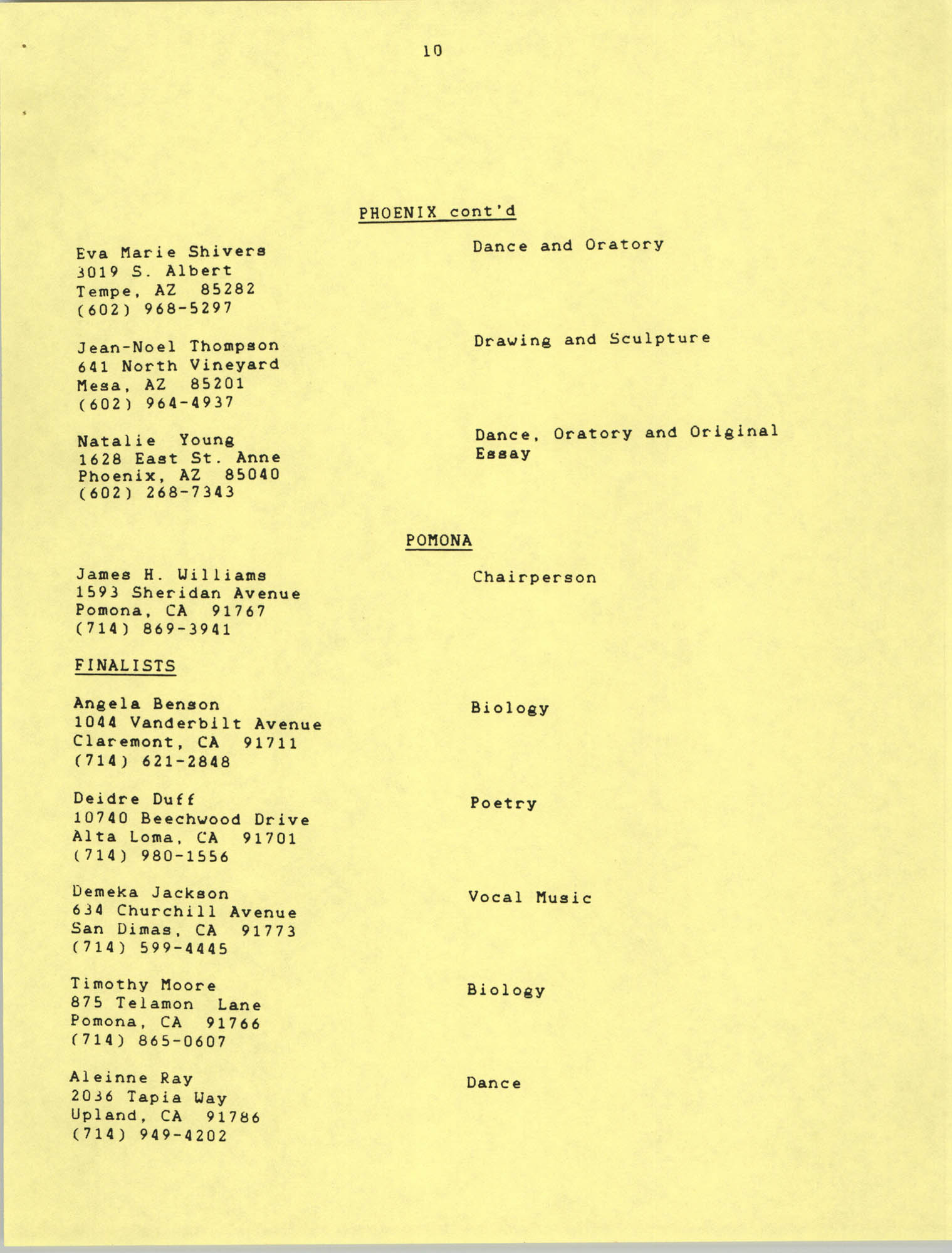 1987 Act-So Contestants, NAACP West Coast Region, Page 10