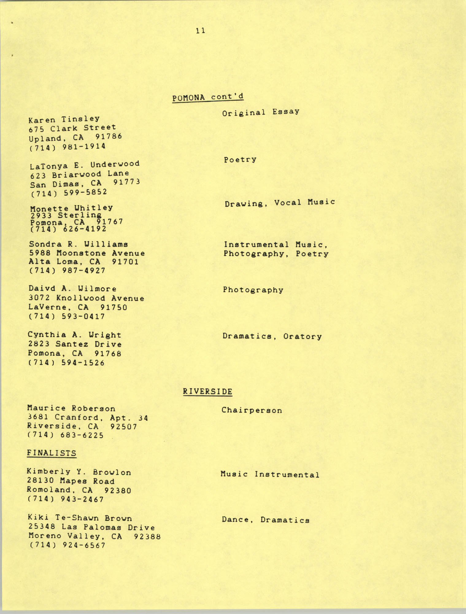 1987 Act-So Contestants, NAACP West Coast Region, Page 11