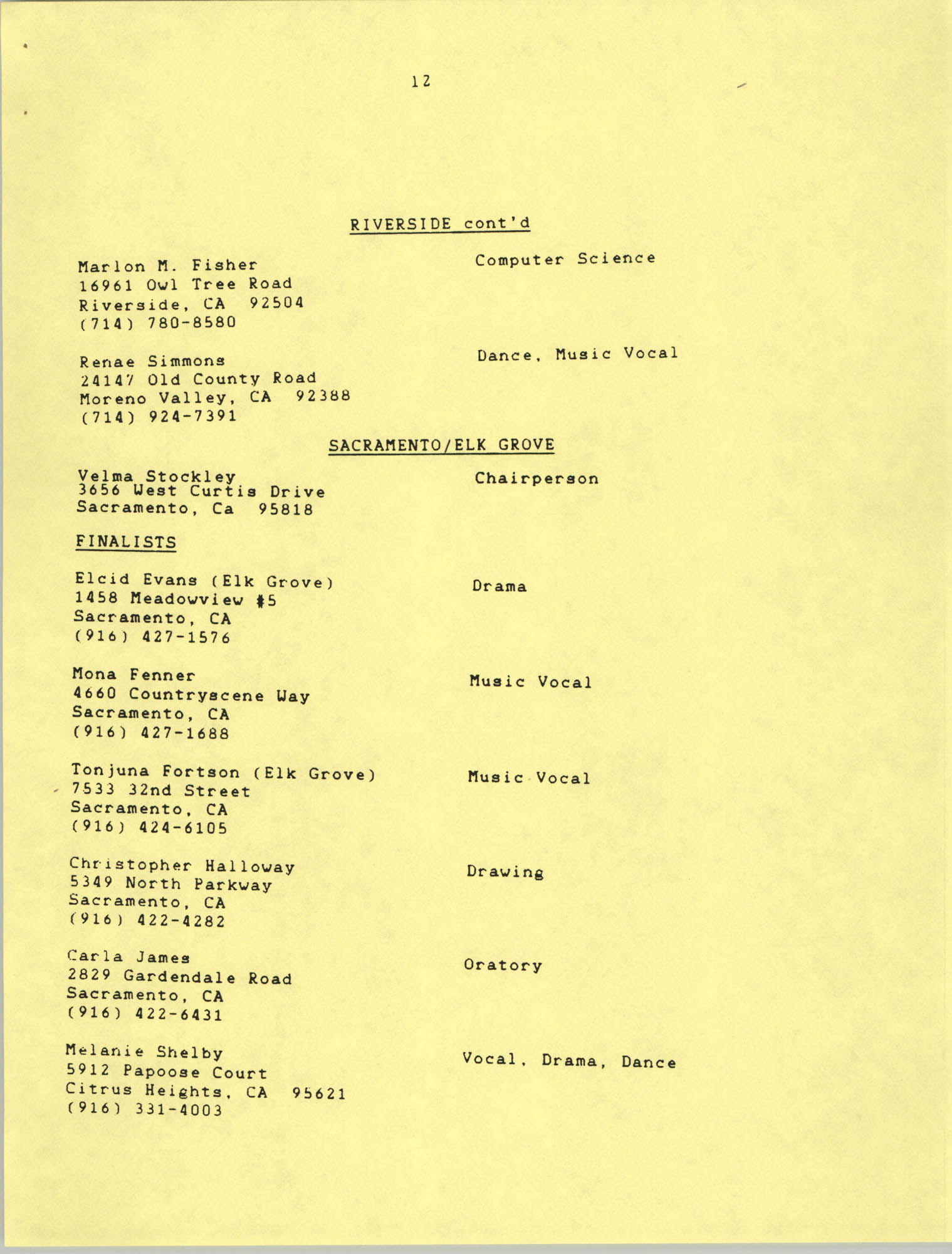 1987 Act-So Contestants, NAACP West Coast Region, Page 12