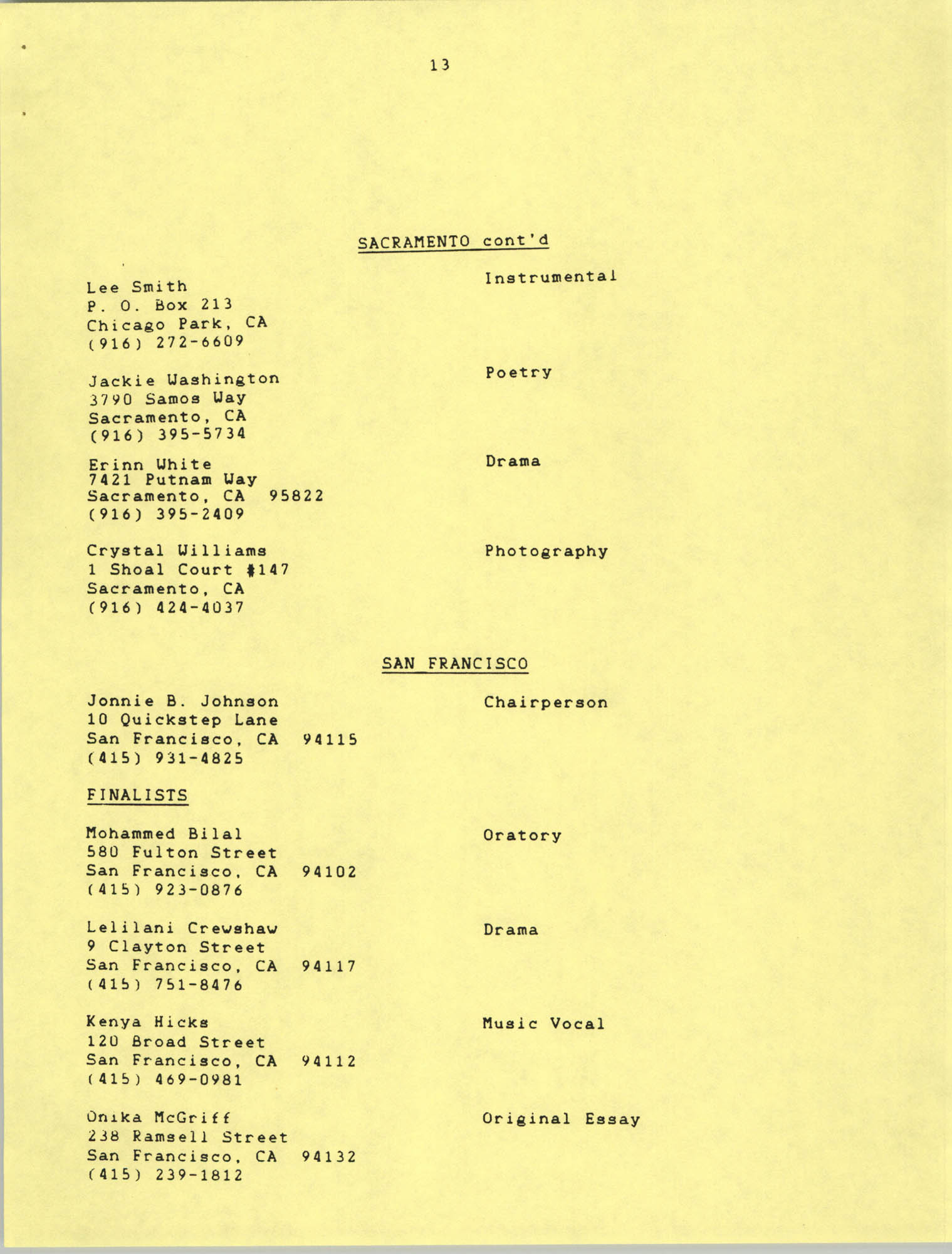 1987 Act-So Contestants, NAACP West Coast Region, Page 13