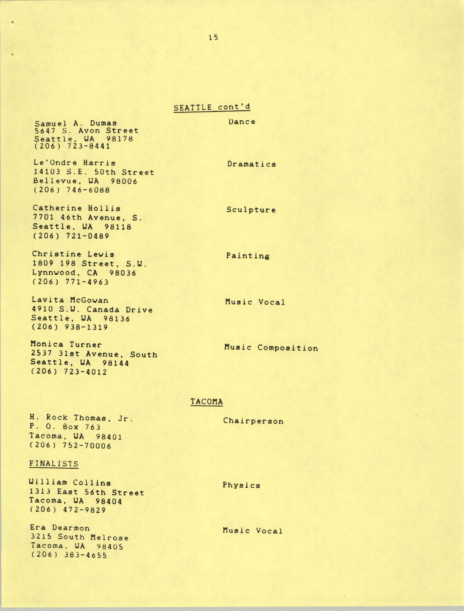 1987 Act-So Contestants, NAACP West Coast Region, Page 15