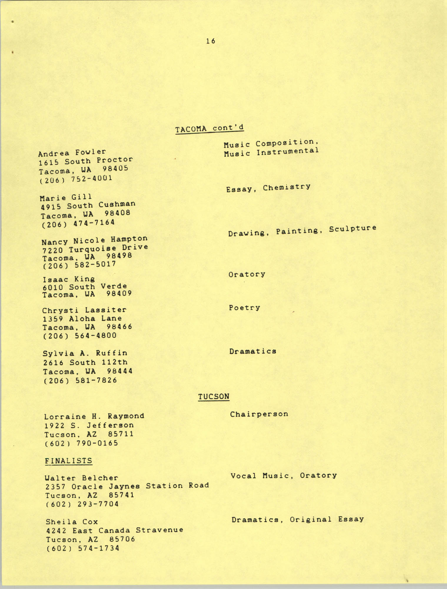1987 Act-So Contestants, NAACP West Coast Region, Page 16