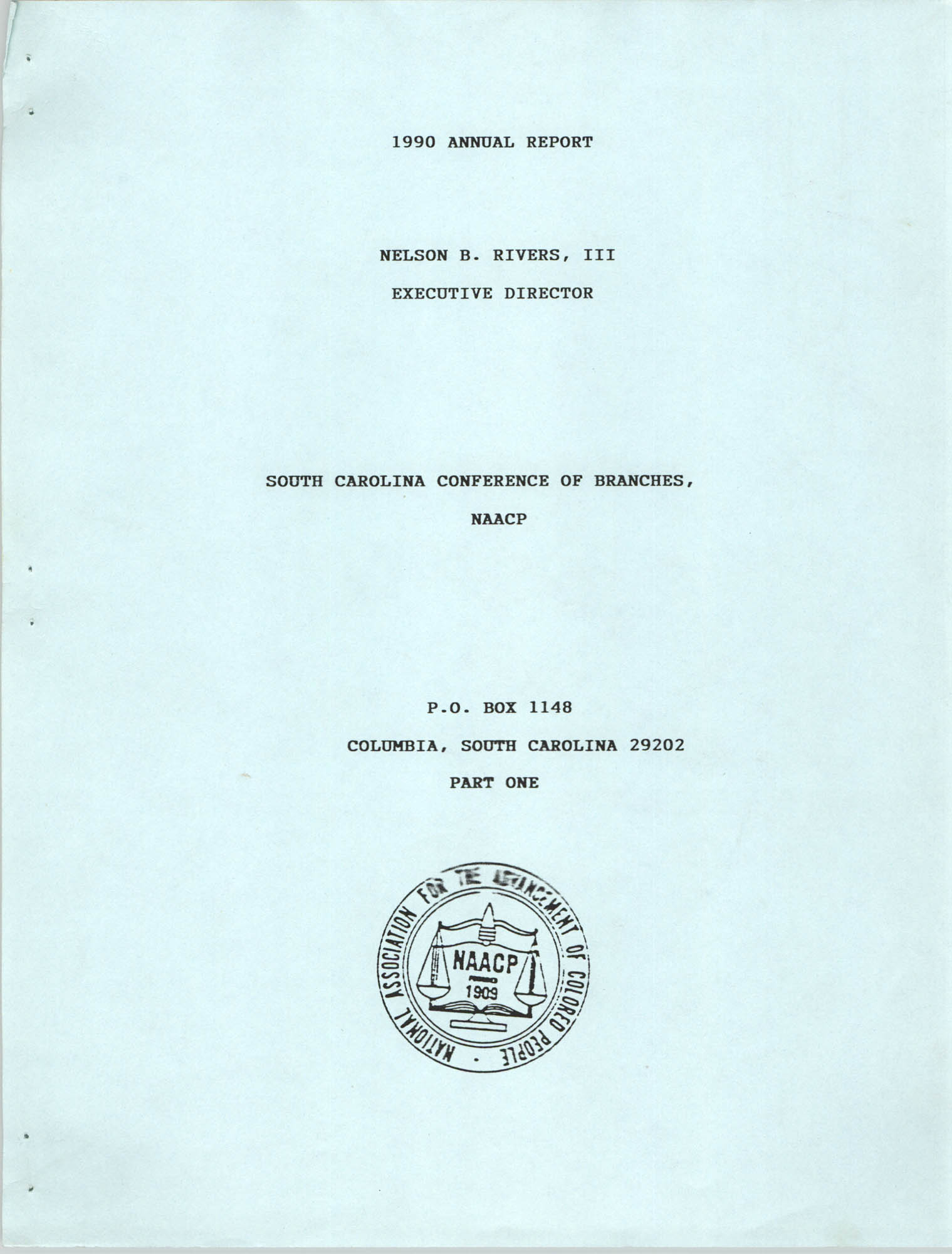 South Carolina Conference of Branches of the NAACP, 1990 Annual Report, Part One, Front Cover