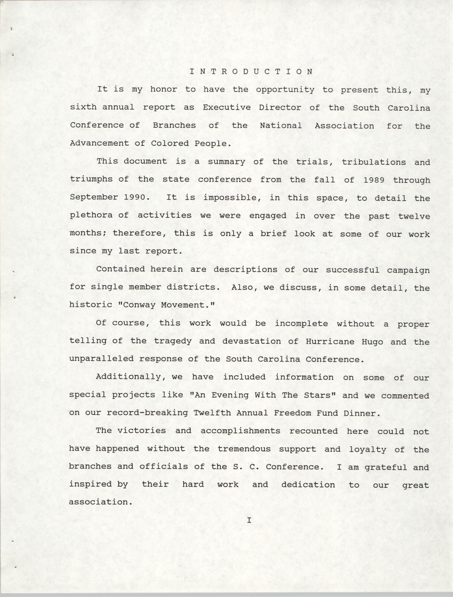 South Carolina Conference of Branches of the NAACP, 1990 Annual Report, Part One, Introduction Page 1