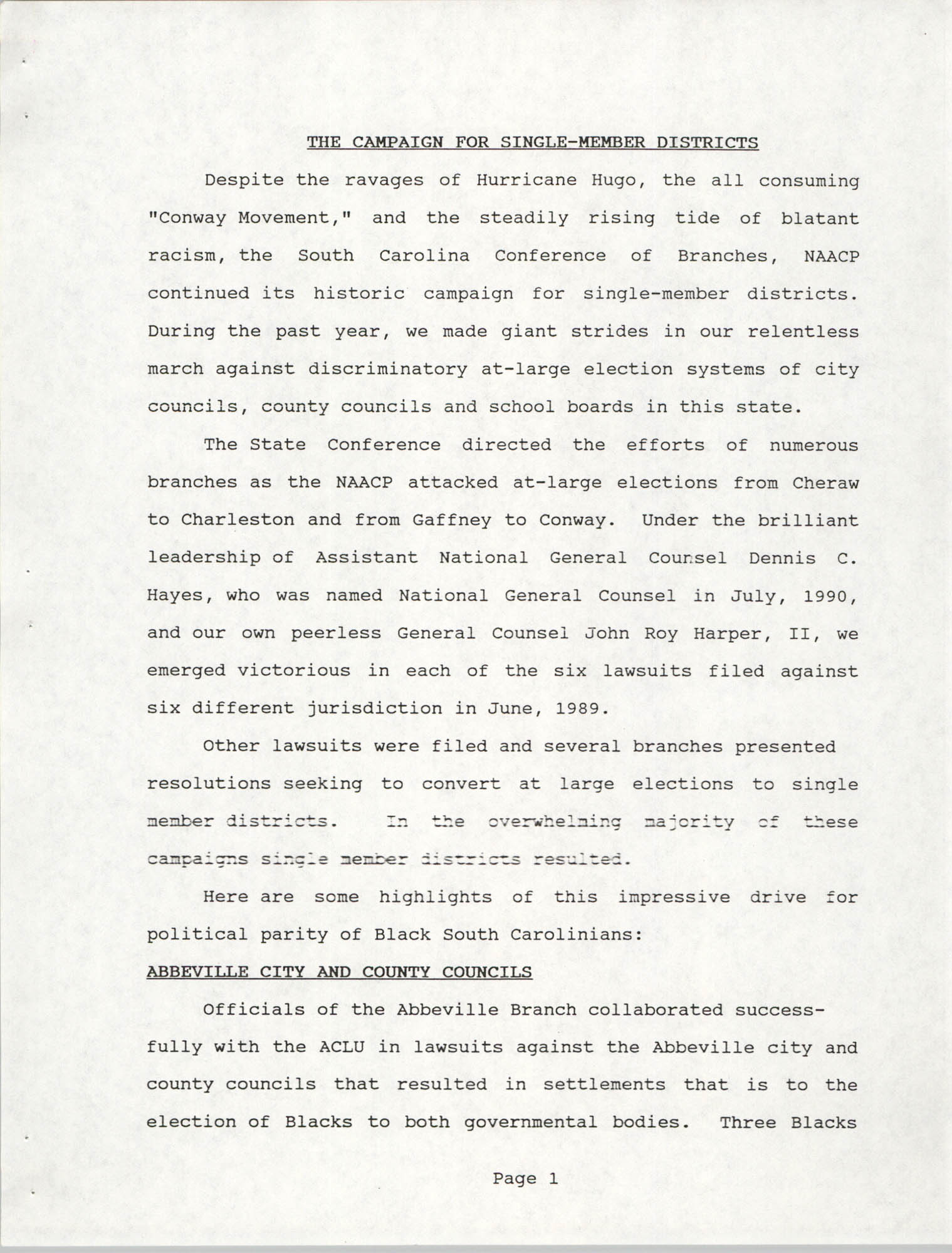 South Carolina Conference of Branches of the NAACP, 1990 Annual Report, Part One, Page 1